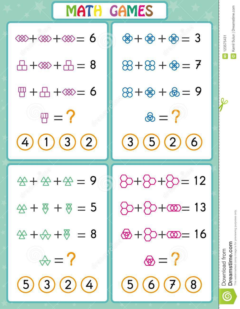 Mathematics Educational Game For Kids, Fun Worksheets For ...