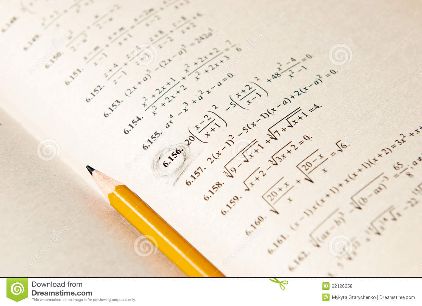 Mathematics Exercises In The Book Stock Photo - Image of symbols ...