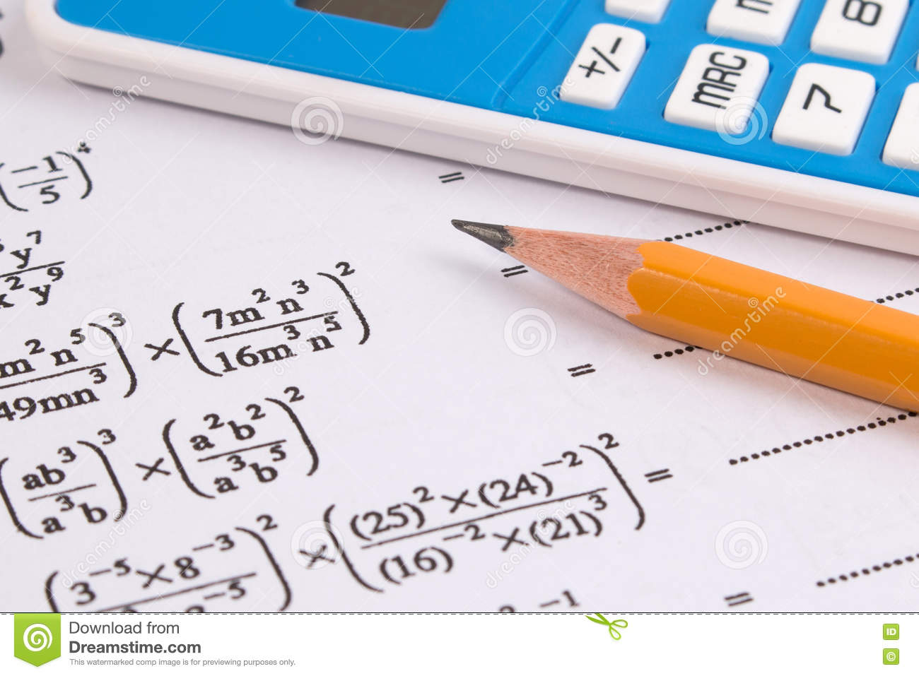 Mathematics, Math Equations Close-up. Math Homework Or Math Exams ...