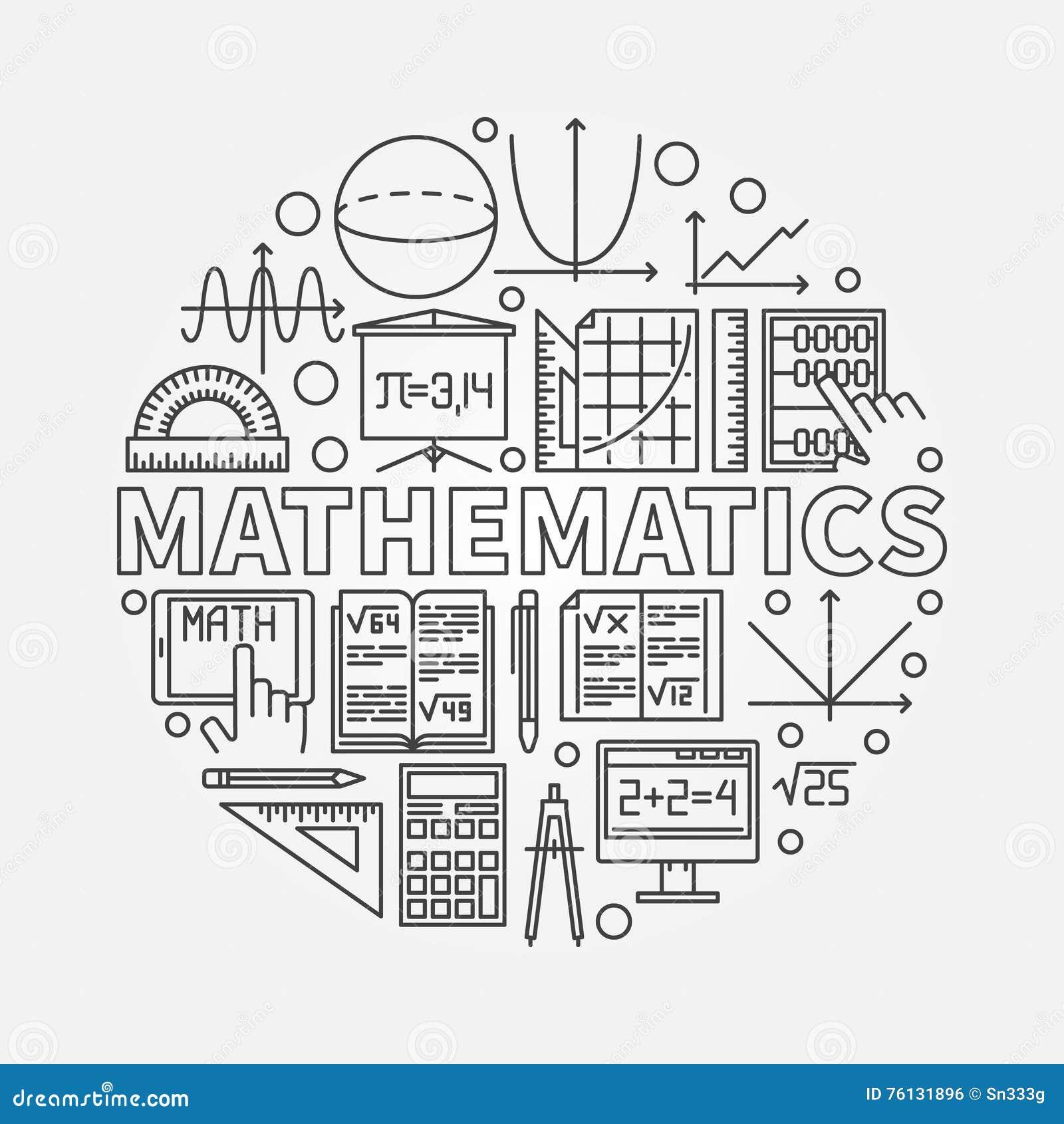 Line Art Math : Mathematics round illustration stock vector