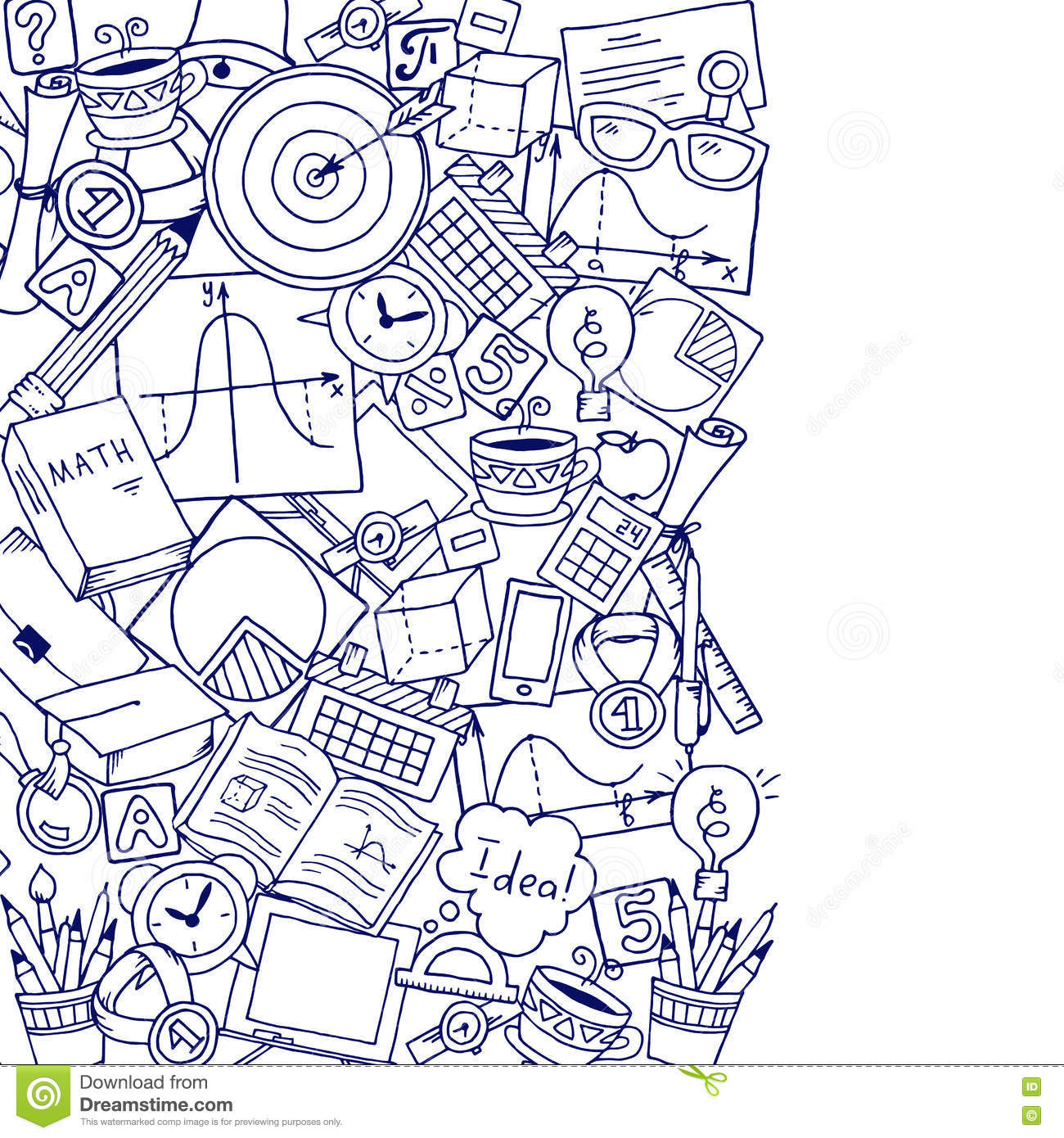 mathematics science theme  hand drawn pattern about school
