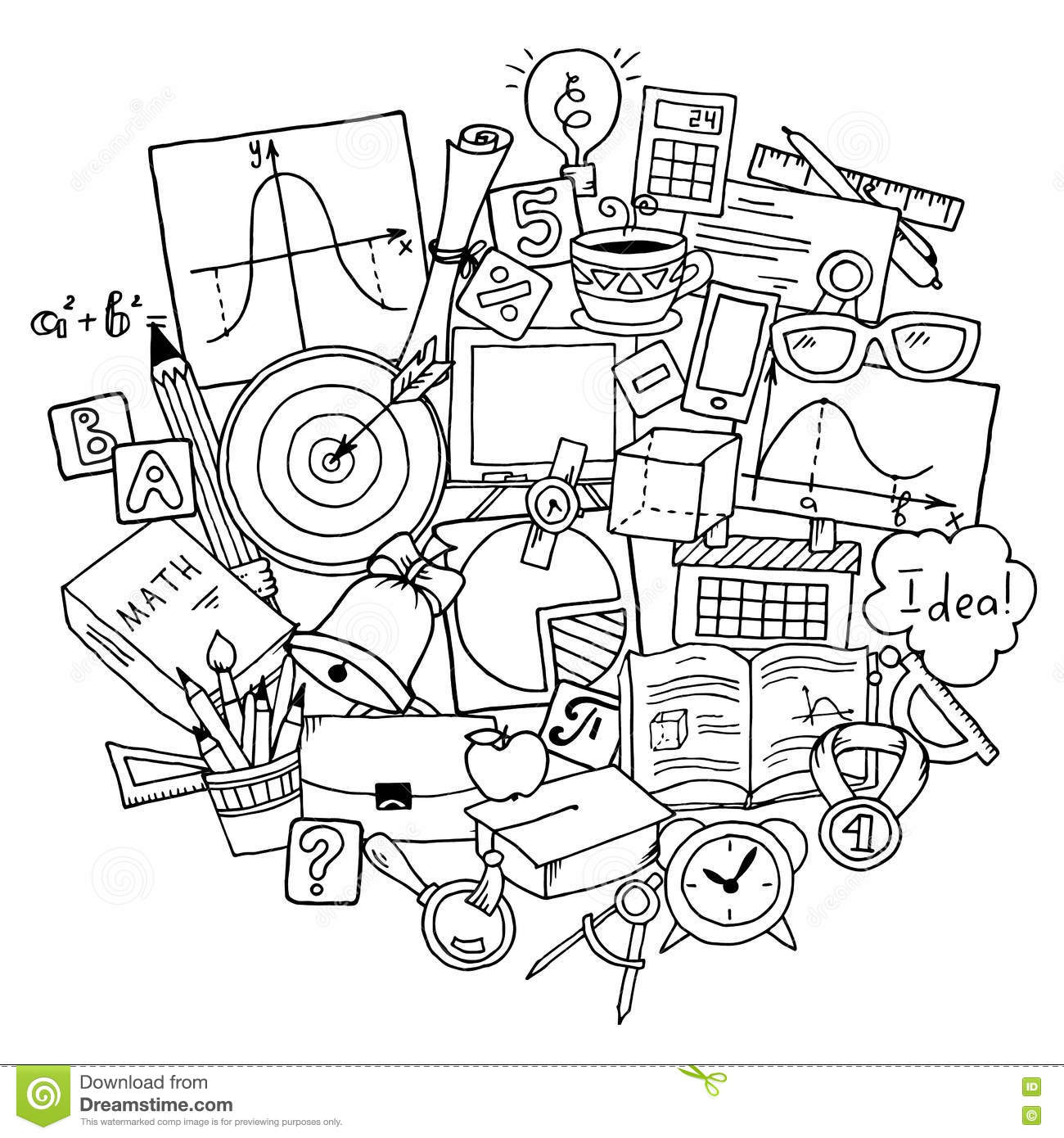 Mathematics Science Theme. Hand Drawn Pattern About School And ...