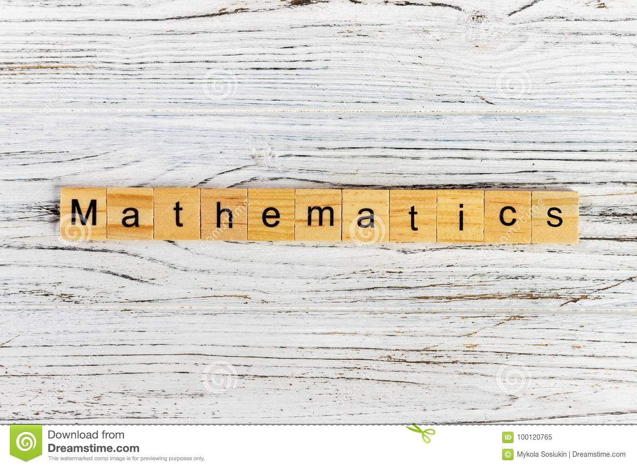 Mathematics Word Made With Wooden Blocks Concept Stock Image