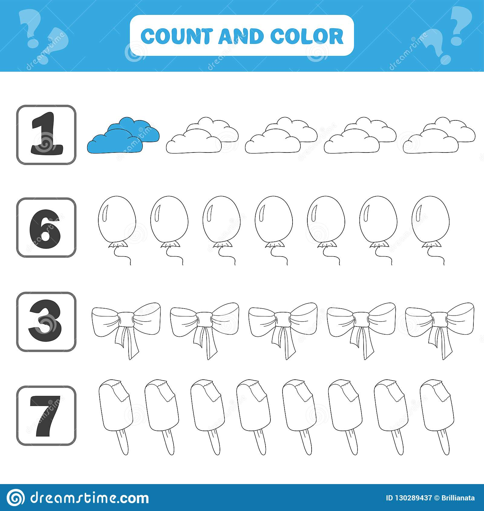 Mathematics Worksheet For Kids. Count And Color Educational Children ...
