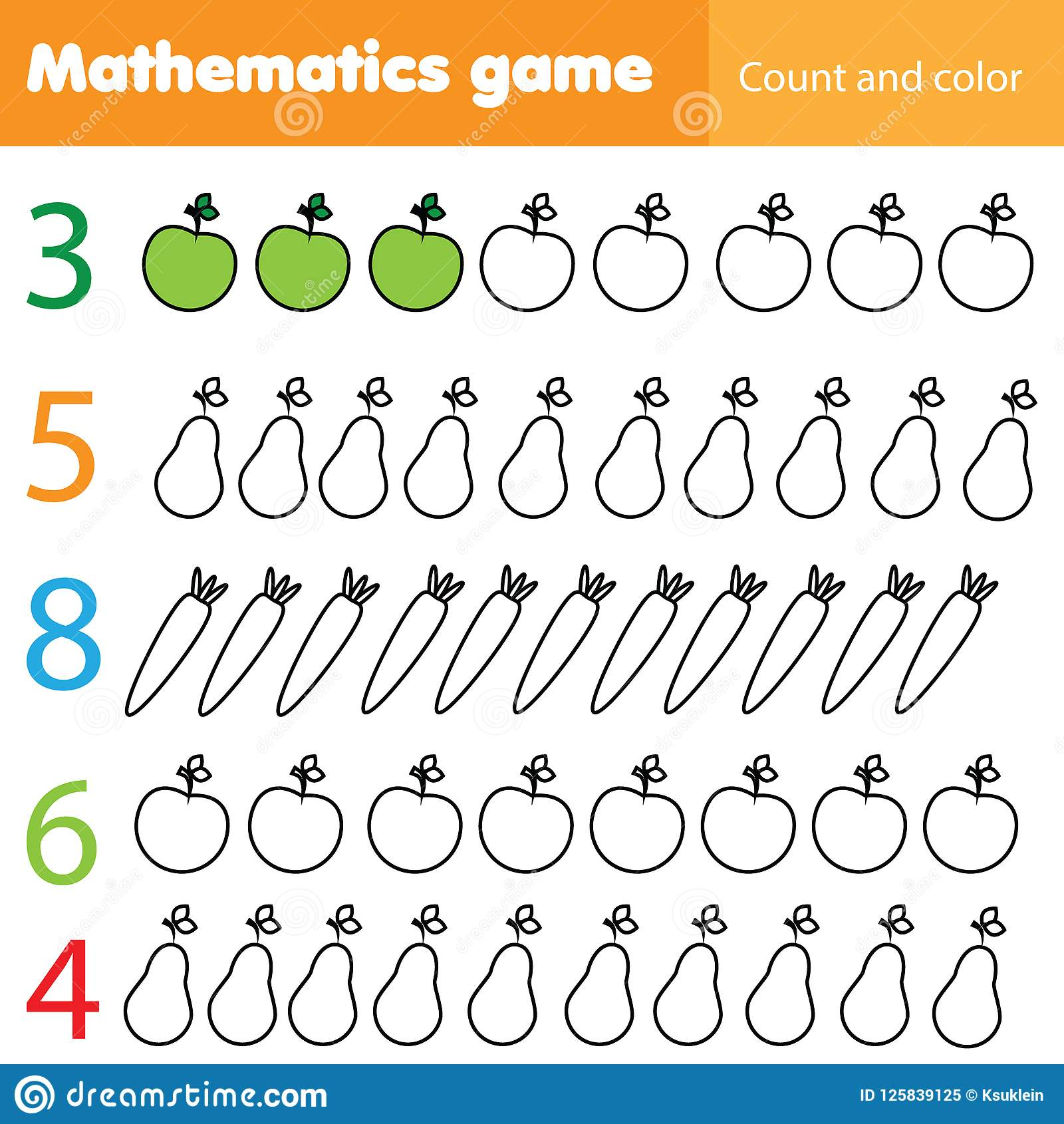 Mathematics Worksheet For Kids. Count And Color Educational ...