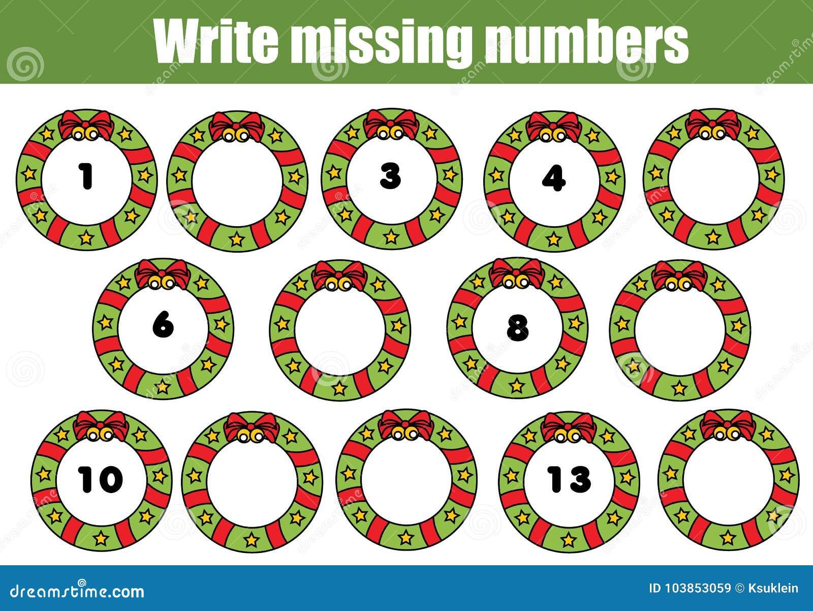 Mathematiklernspiel Für Kinder Schreiben Sie Die Fehlenden Zahlen ...