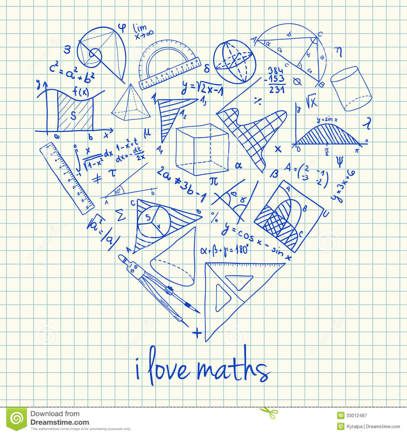 Maths Drawings In Heart Shape Royalty Free Stock