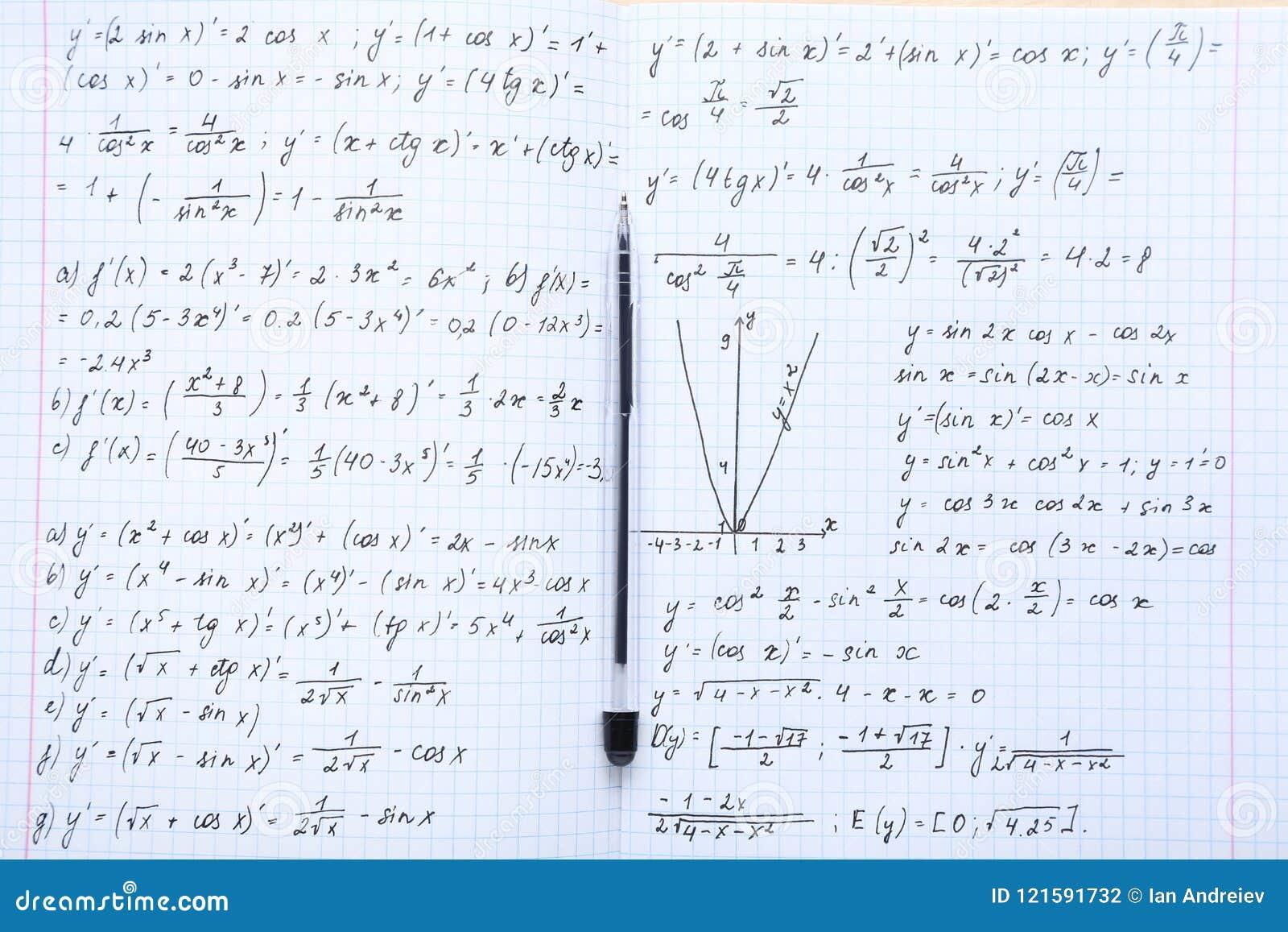 Maths formulas stock photo  Image of lesson, algebra - 121591732