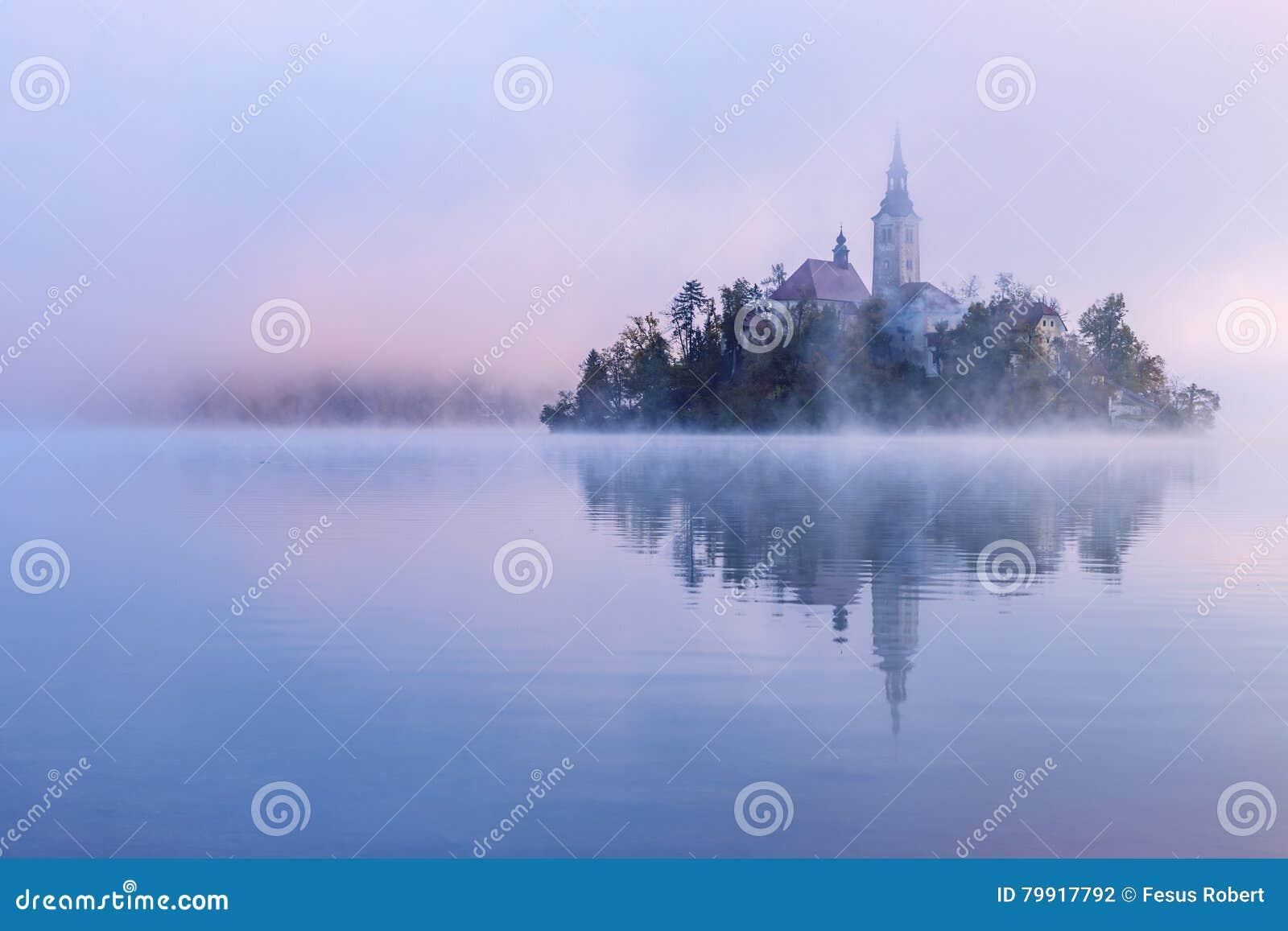 Matin brumeux dans le lac saigné