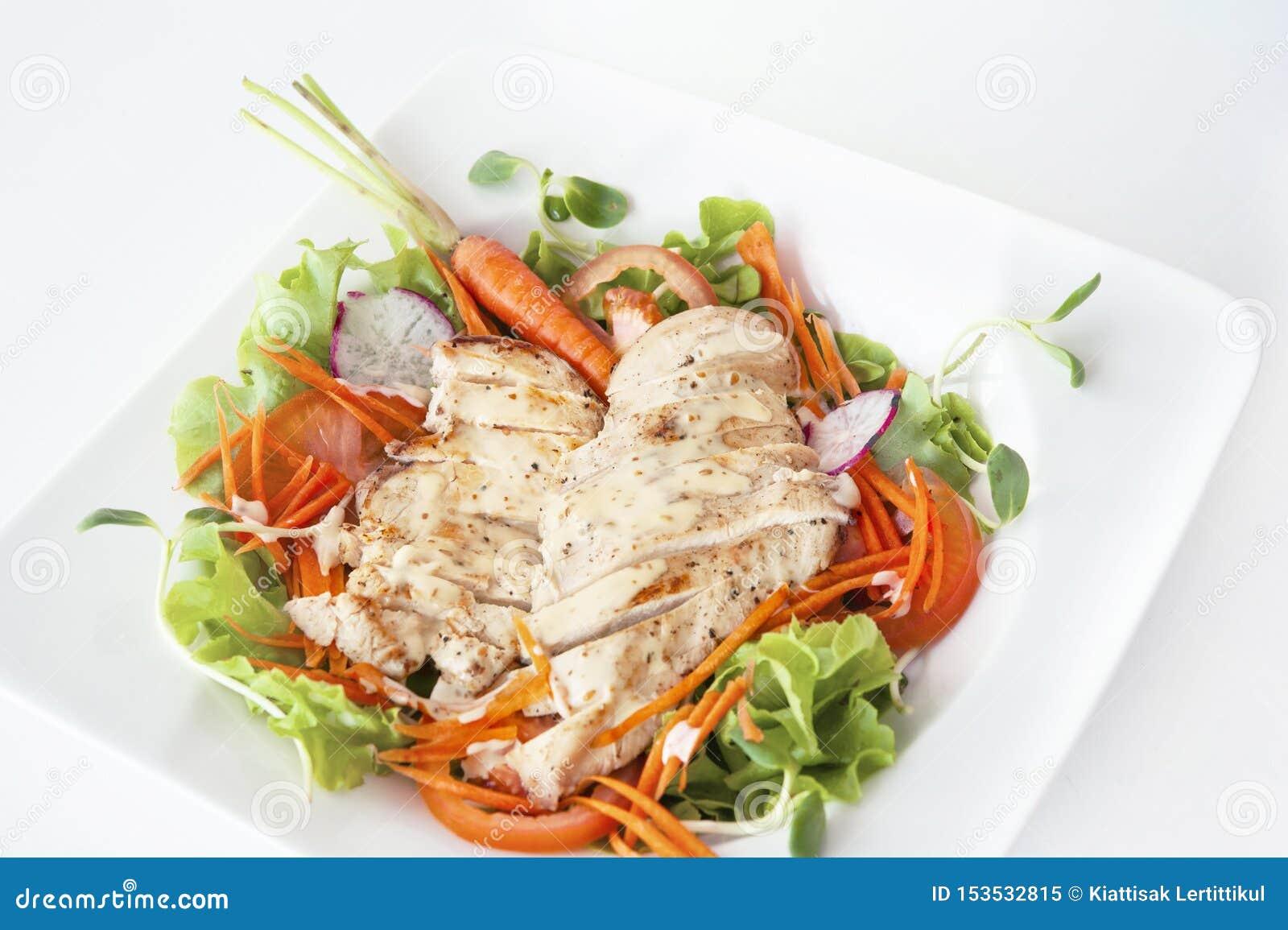 Matin de légume de salade de poulet