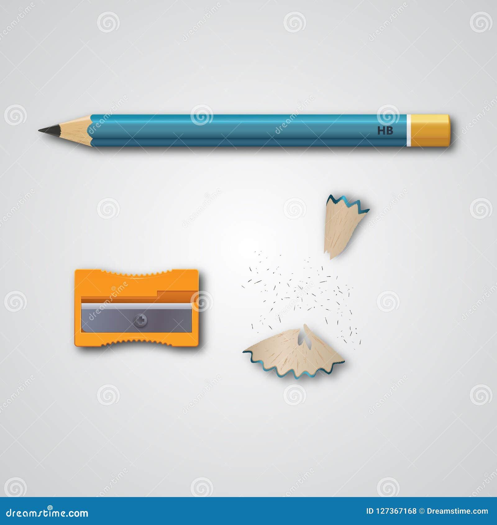 Matita Insieme delle illustrazioni di vettore nella matita realistica di stile, in un affilatrice, nei trucioli della matita ed i