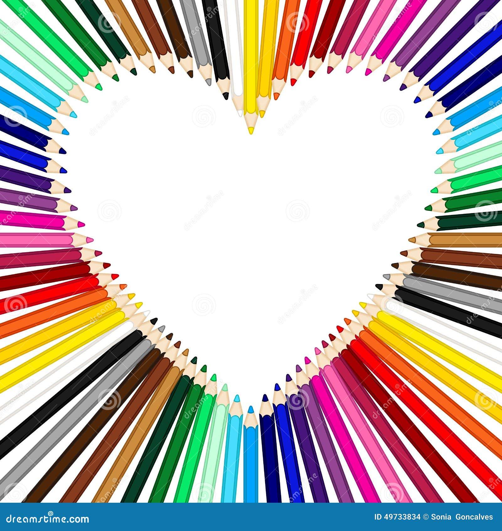 Matite colorate che formano una struttura del cuore for Immagini di pareti colorate
