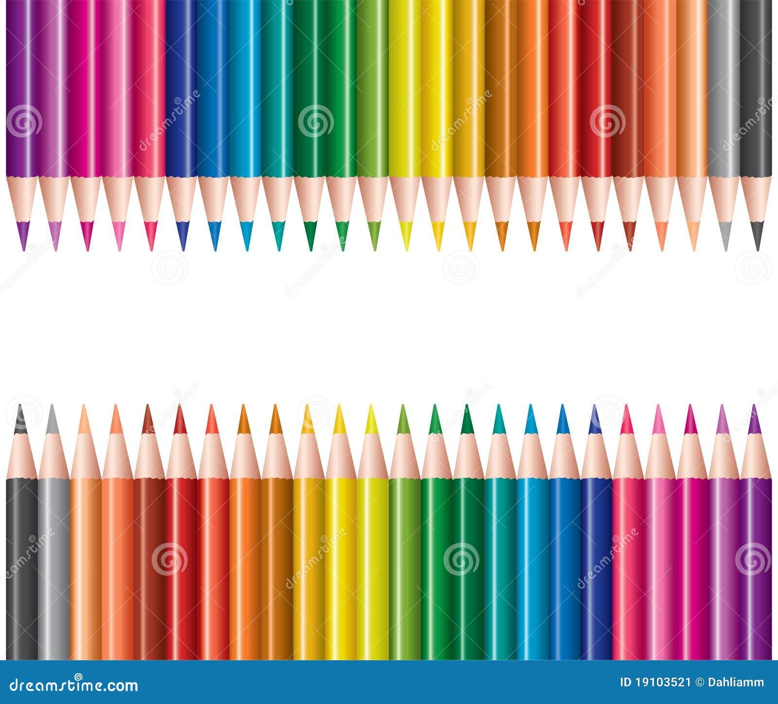 Matite colorate nelle righe