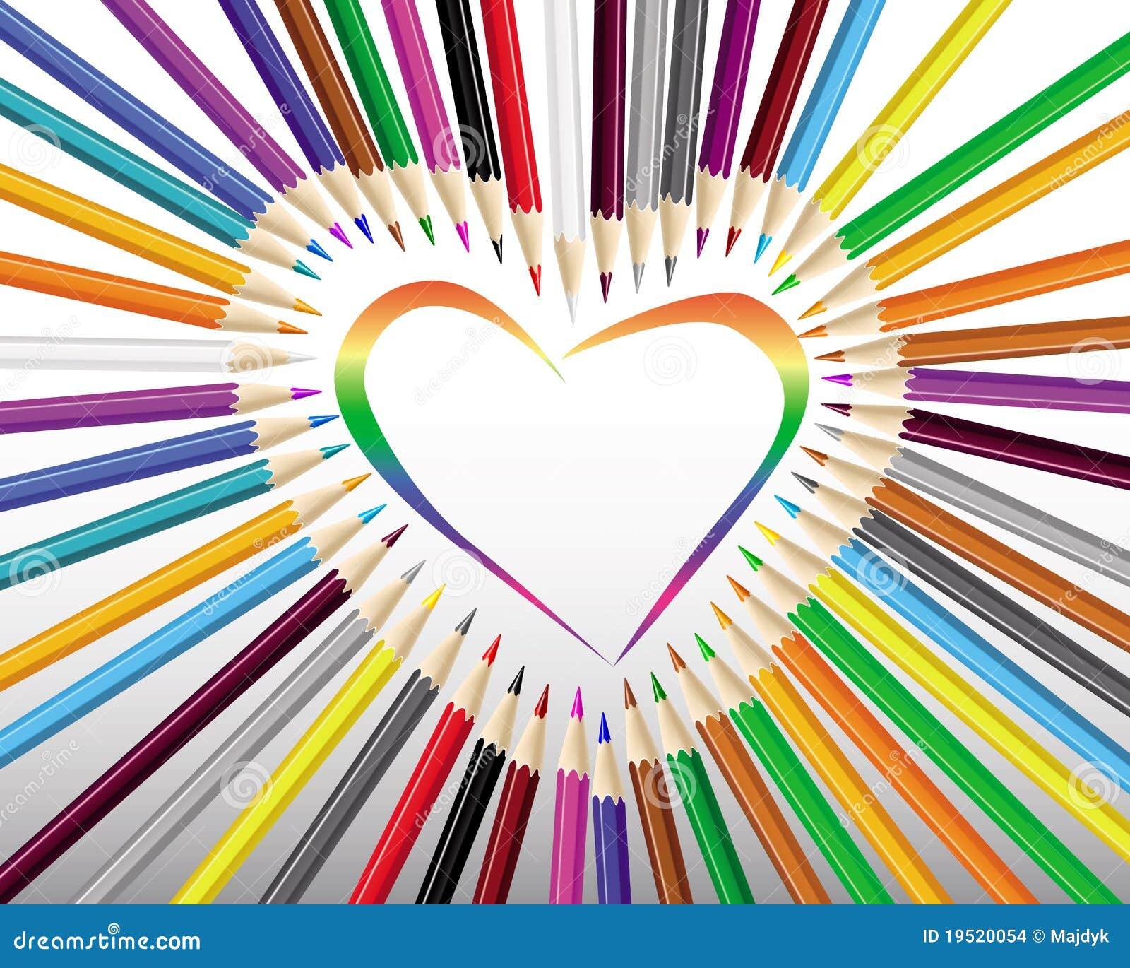 Matite colorate in un cuore illustrazione di stock for Foto di ville colorate