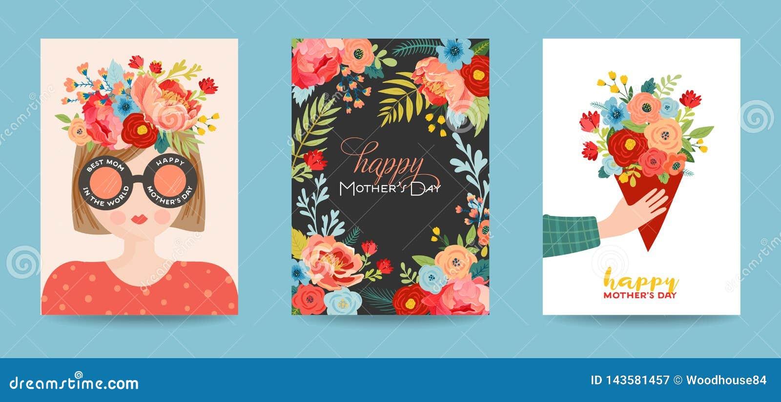 Matka dnia kartka z pozdrowieniami set Wiosna Macierzystego dnia Szczęśliwy Wakacyjny sztandar z kwiatami i mama charakterem z bu