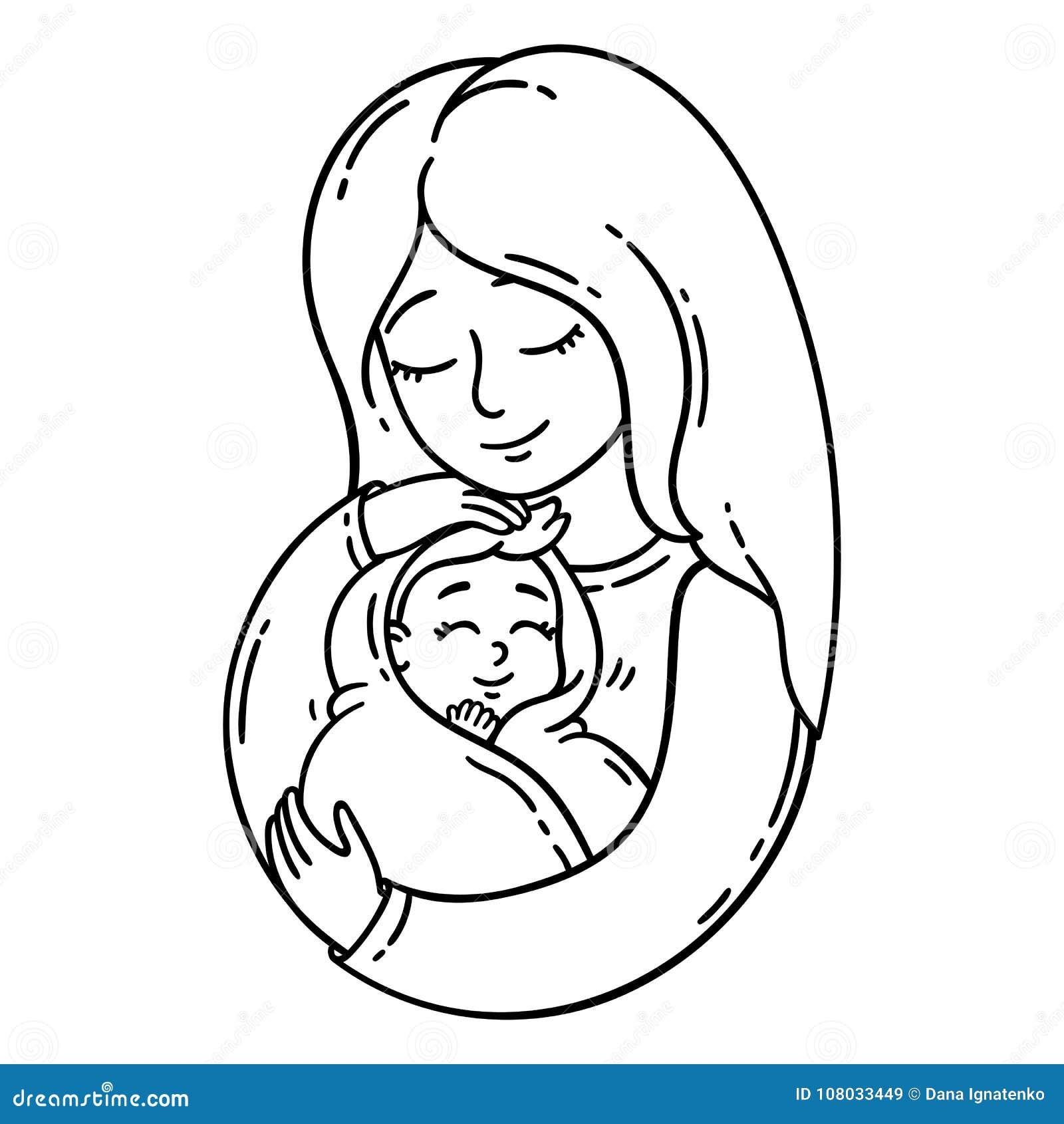 Matka dziecka gospodarstwa Na biały tle odosobneni przedmioty również zwrócić corel ilustracji wektora Barwić strony