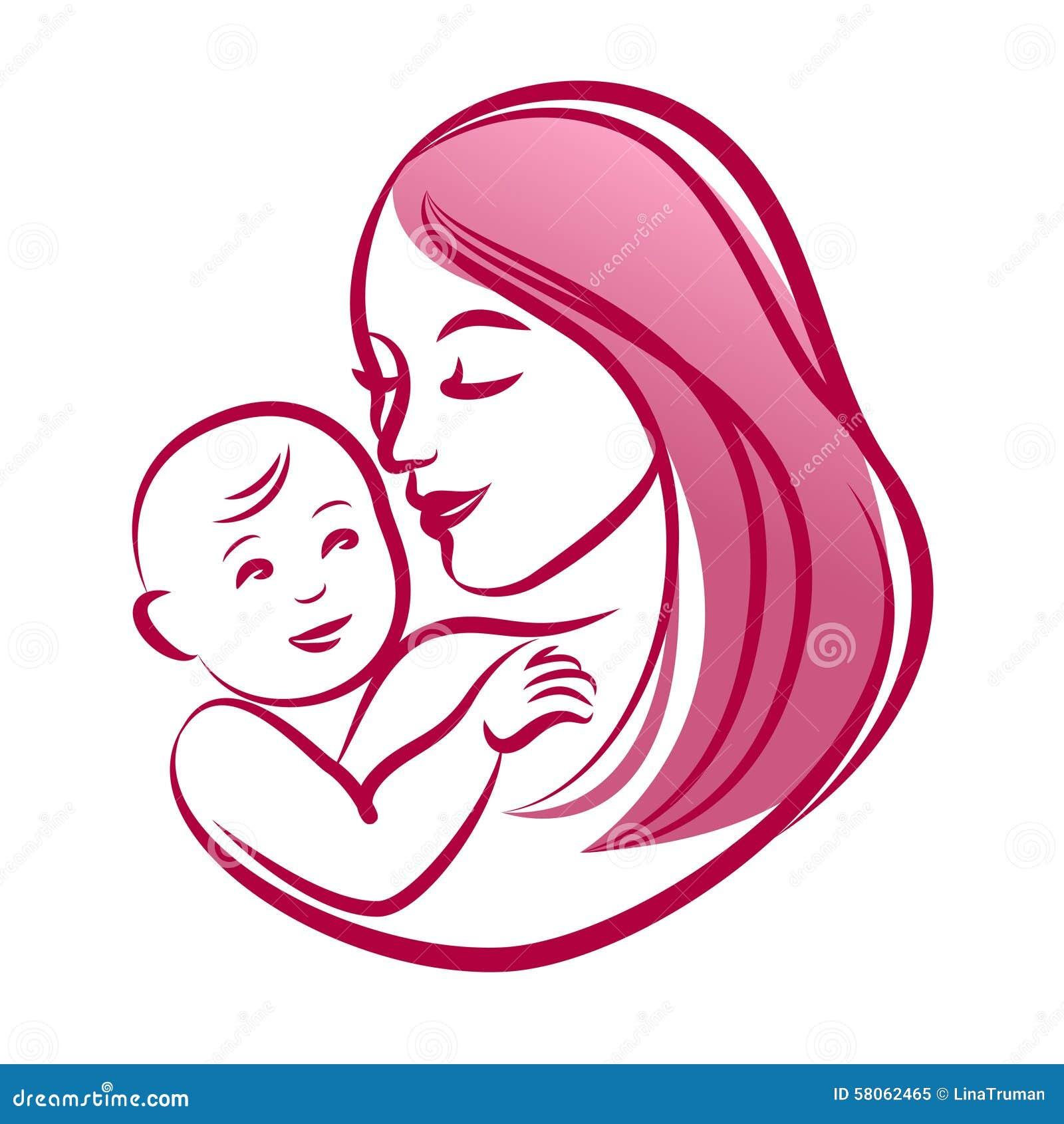 Matka z jej dzieckiem, konturu wektoru sylwetka