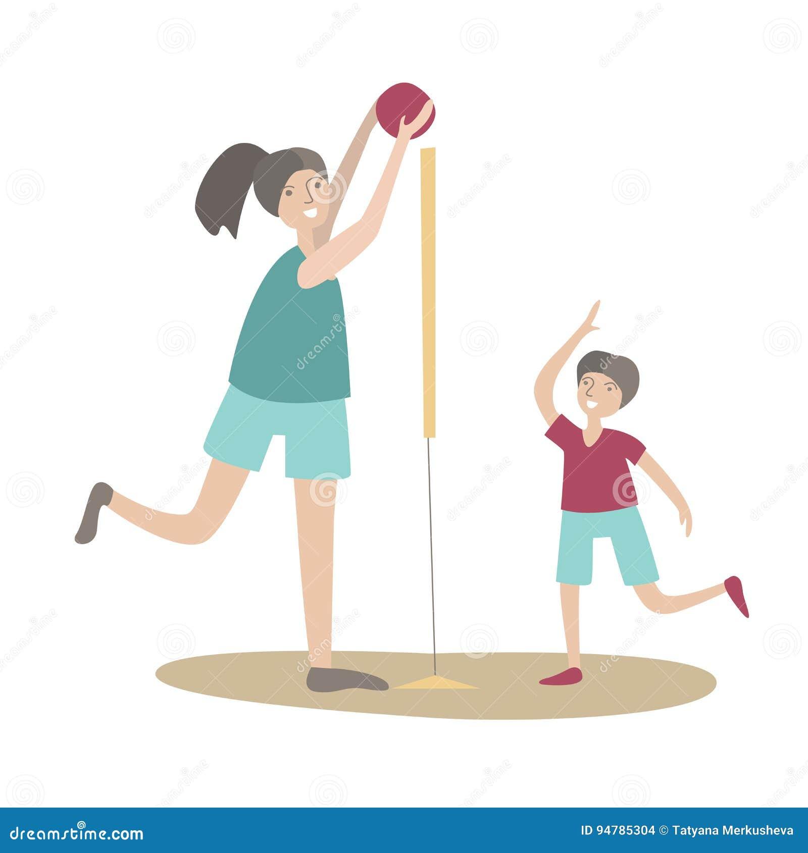Matki i syna sztuki siatkówka Rodzinni sporty i fizyczna aktywność z dziećmi, łączny aktywny odtwarzanie wektor