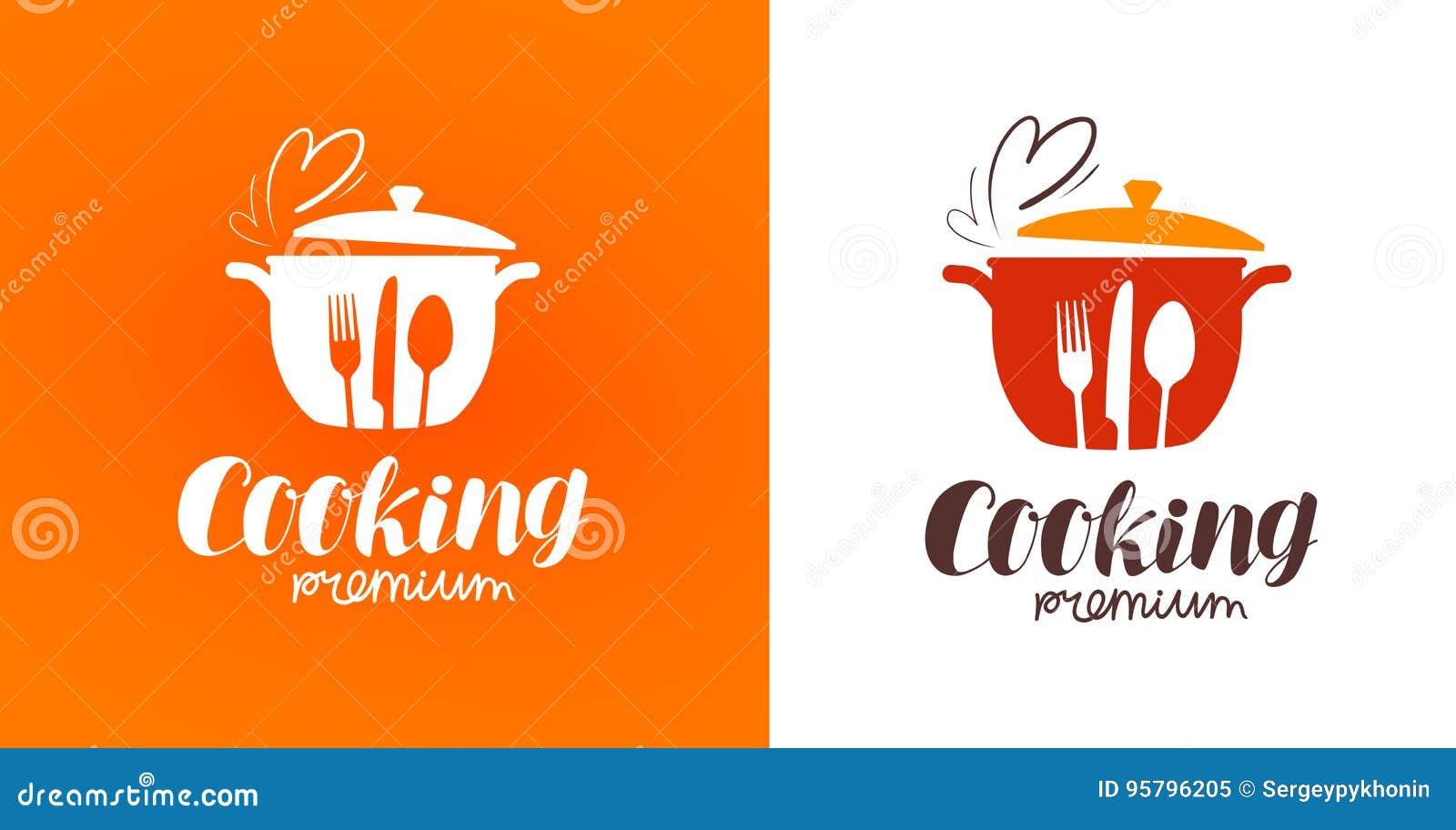Matlagning kokkonst, matlagninglogo Restaurang, meny, kafé, matställeetikett eller symbol också vektor för coreldrawillustration