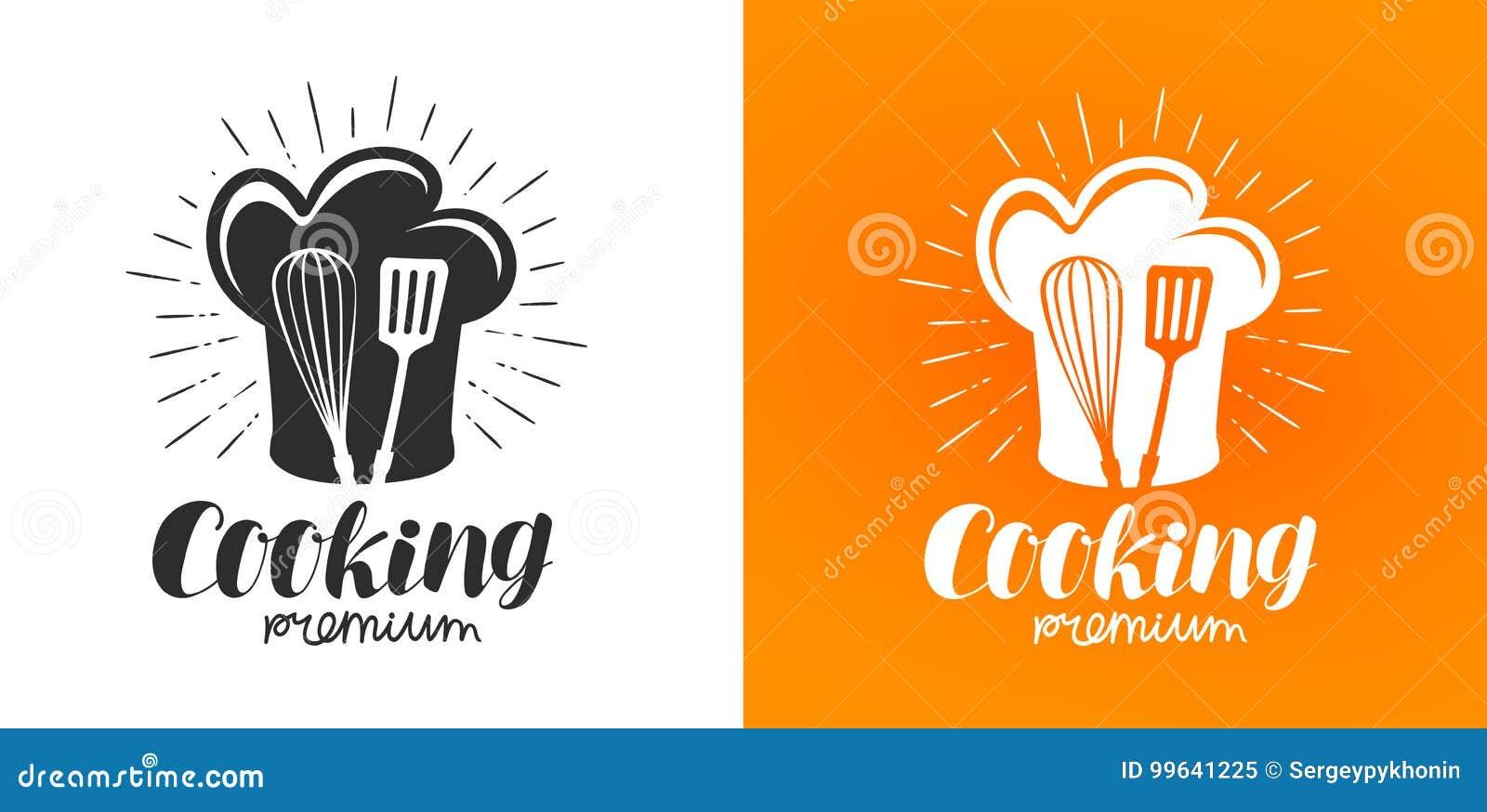 Matlagninglogo eller etikett Kokkonst köksymbol Bokstävervektorillustration