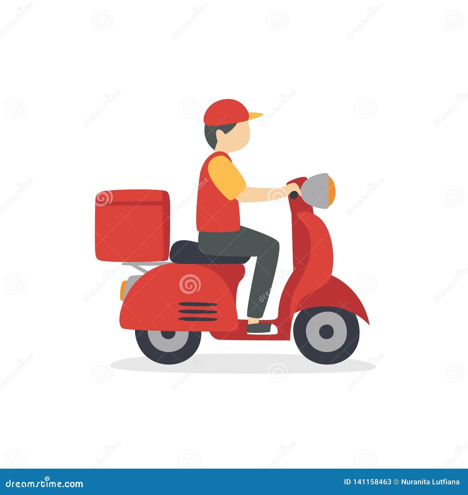 Matleveransman som rider en röd sparkcykelillustration