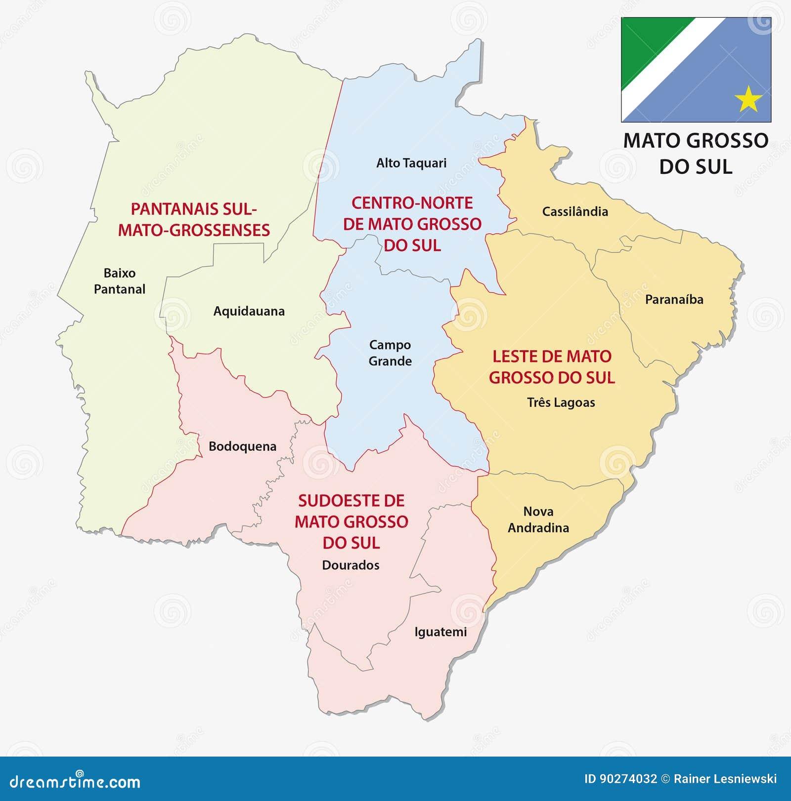 Mato Grosso Do Sul Verwaltungs- Und Politische Karte Mit Flagge Vektor  Abbildung - Illustration von region, administrativ: 90274032