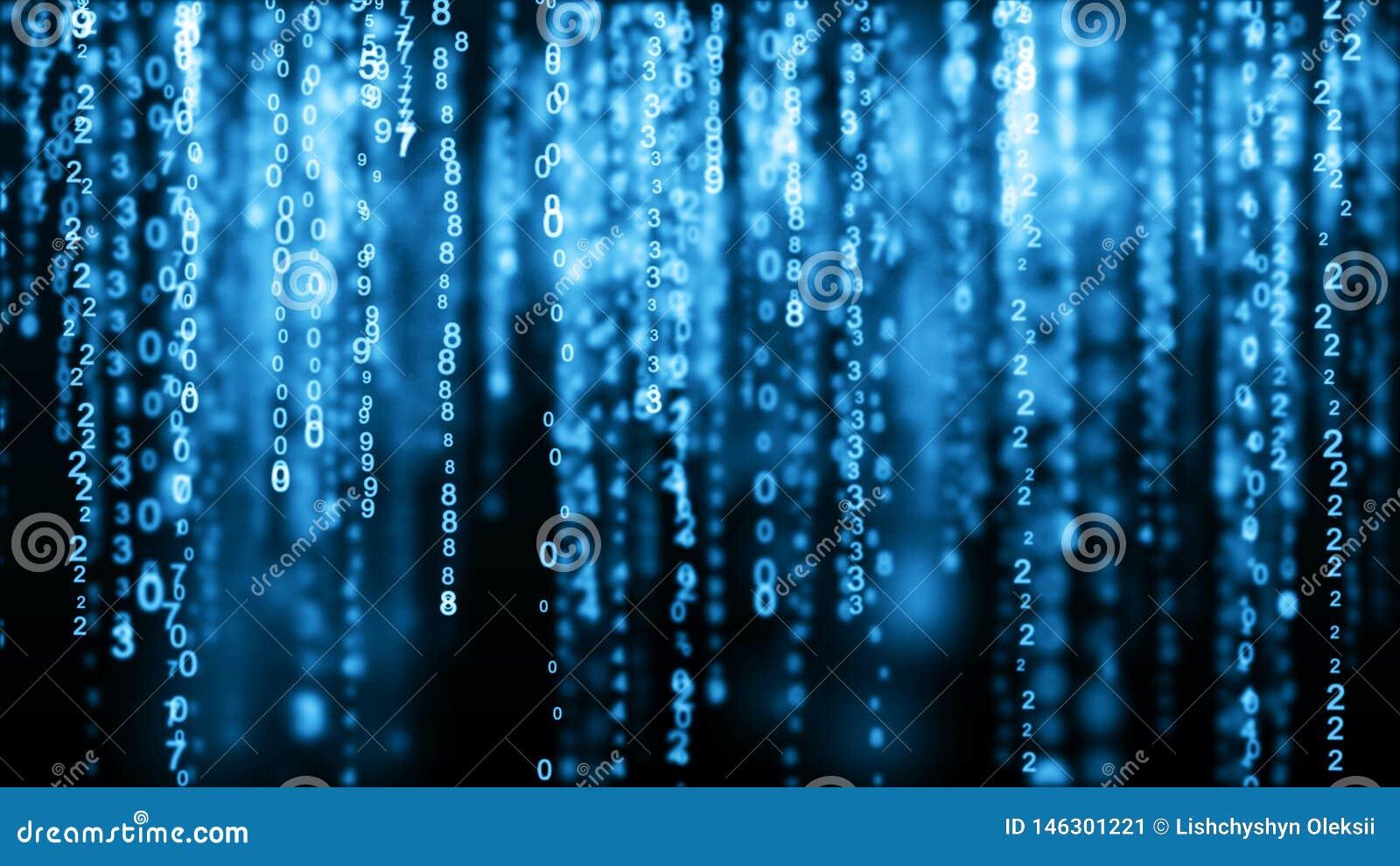 Matrice bleue de fond de Digital Code machine binaire Concept de pirate informatique rendu 3d