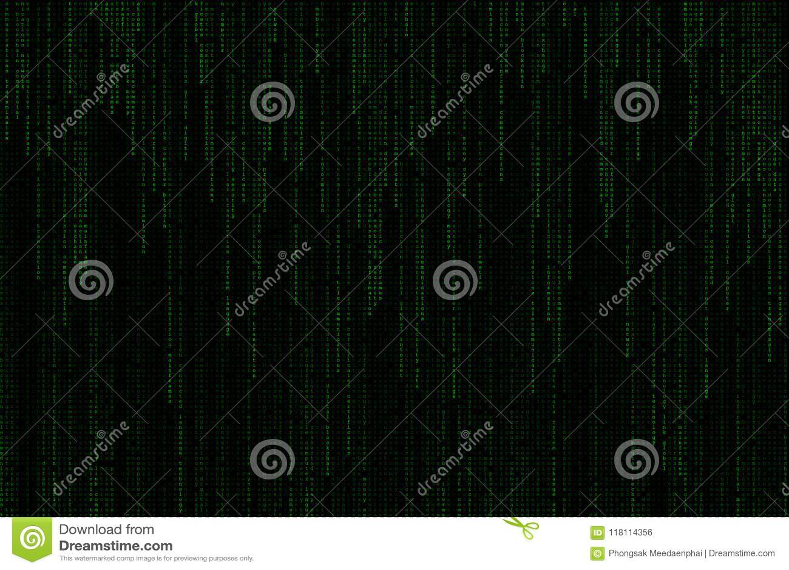 Matrice numérique vert clair de fond de mots des textes tombant à partir du dessus