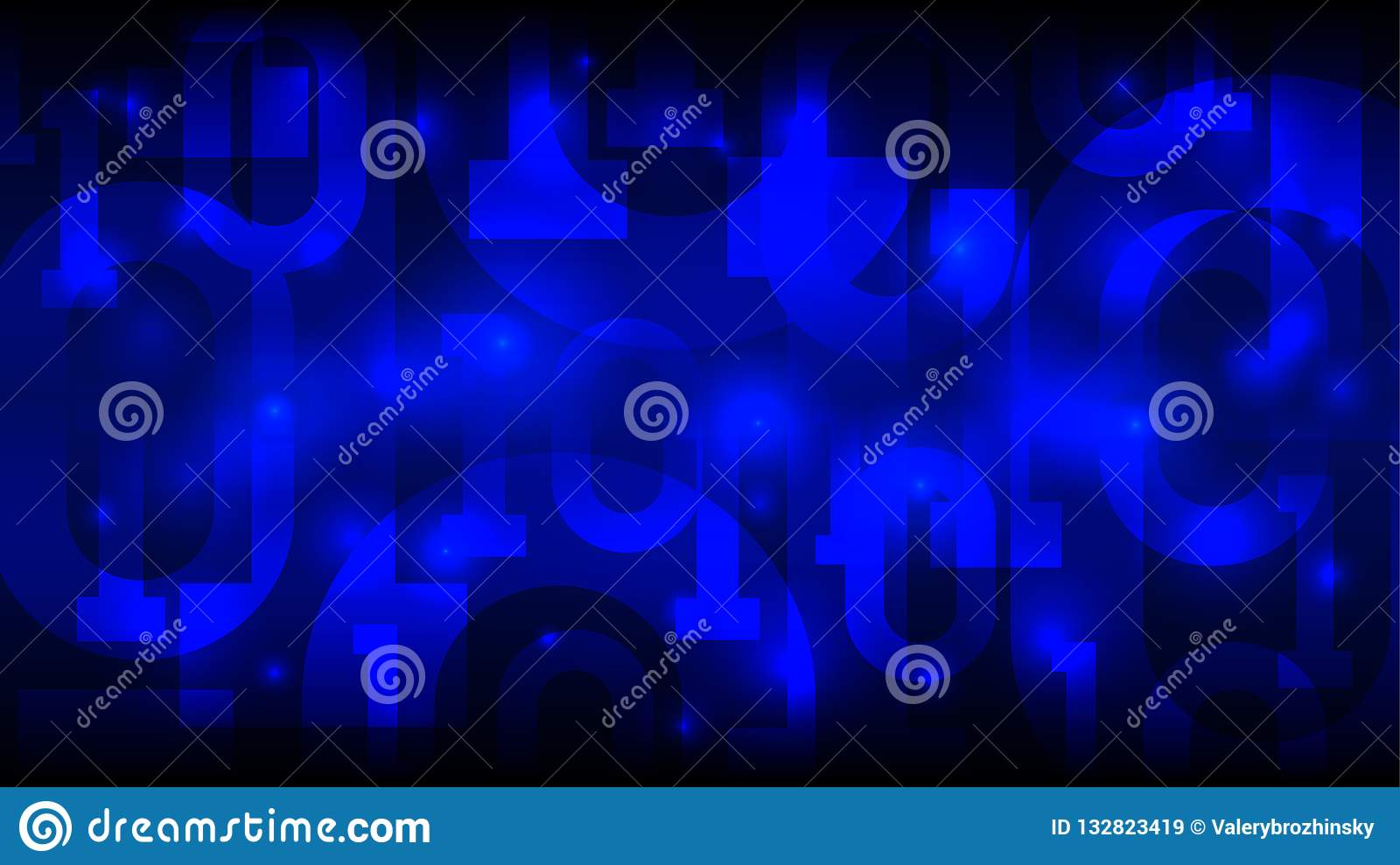 Matrix blue background with binary code, digital code in abstract futuristic cyberspace, artificial intelligence, big data, vector