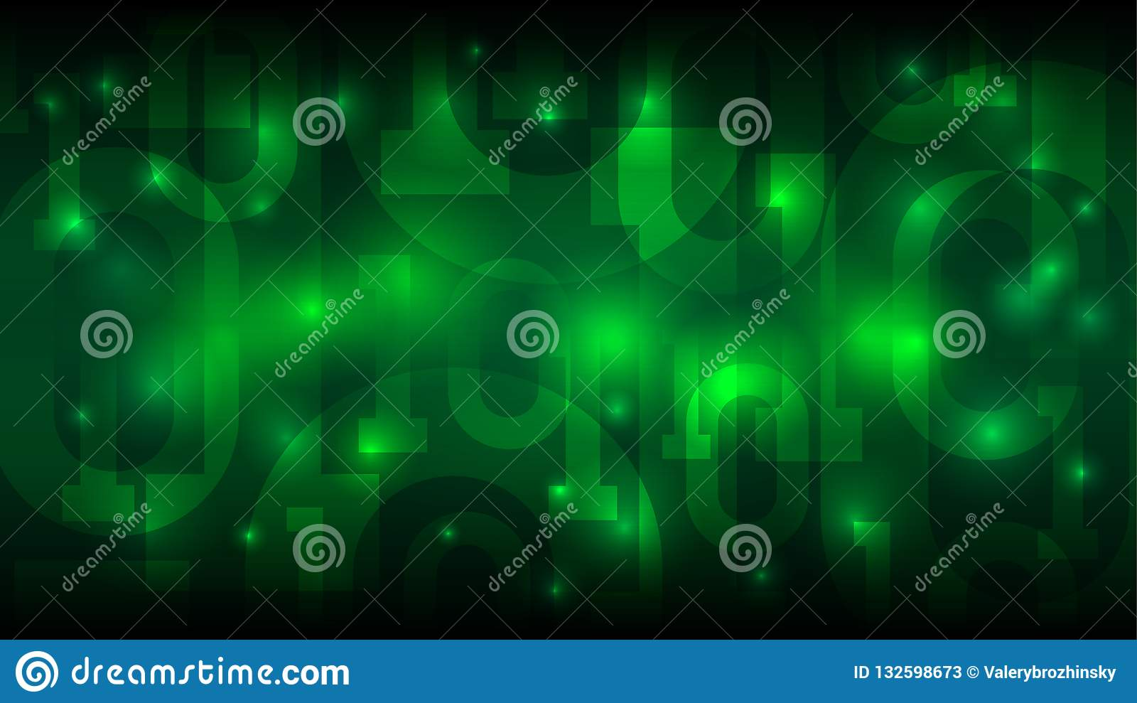 Matrix green background with binary code, digital code in abstract futuristic cyberspace, big data vector illustration