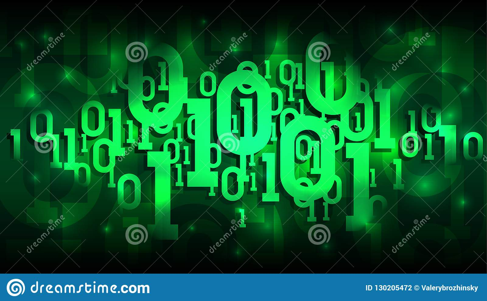 Matrix green background with binary code, shadow digital code in abstract futuristic cyberspace, cloud of big data