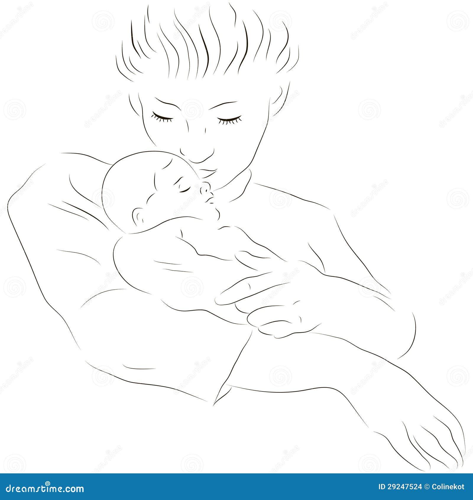 Download Matriz com um bebê de sono ilustração do vetor. Ilustração de ícone - 29247524