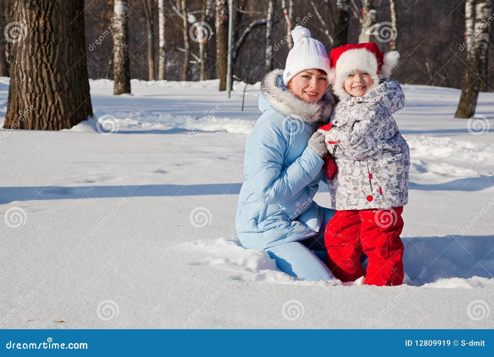 Matriz e filha no parque do inverno
