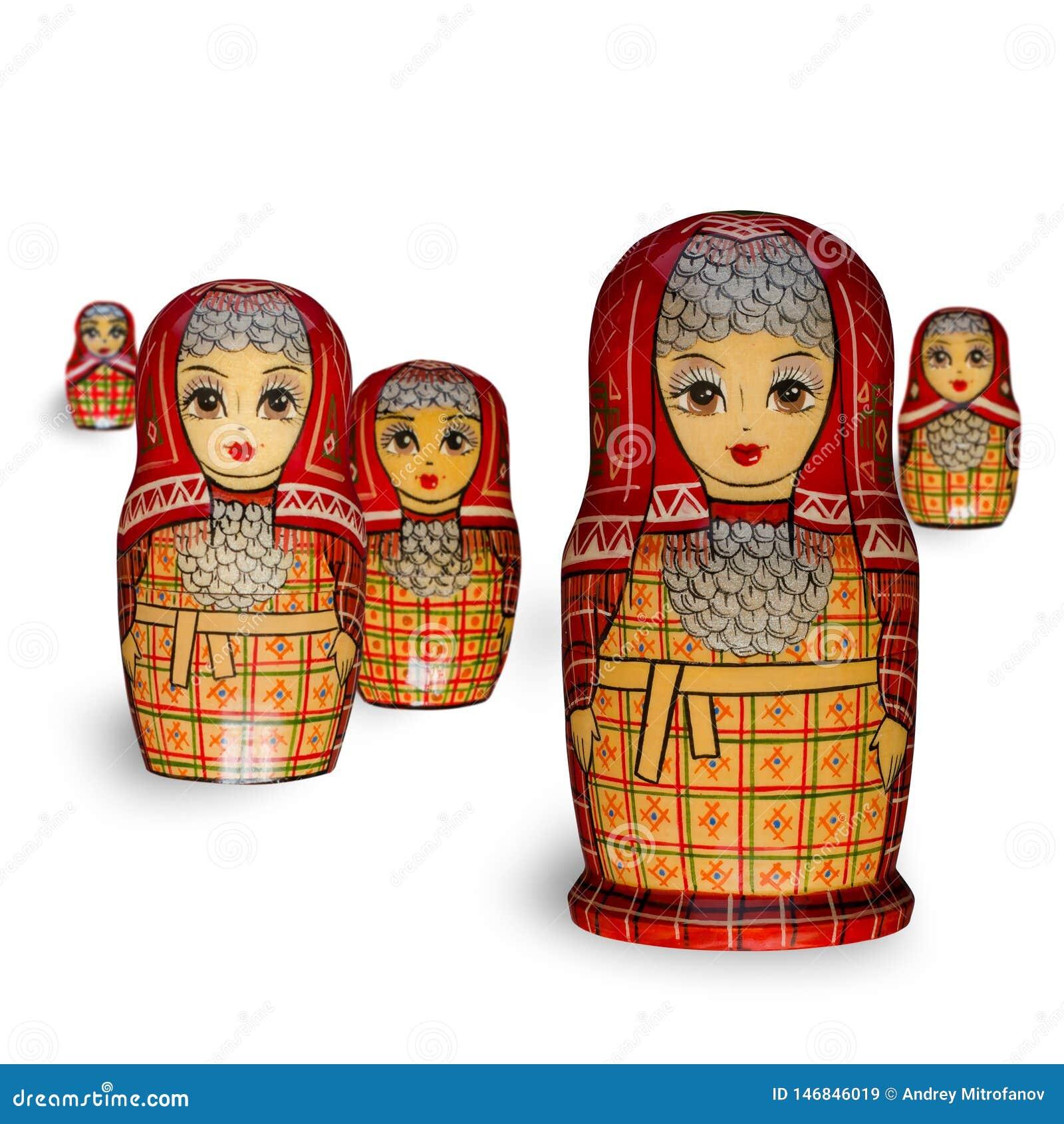 Matryoshka Πέντε κόκκινες κούκλες