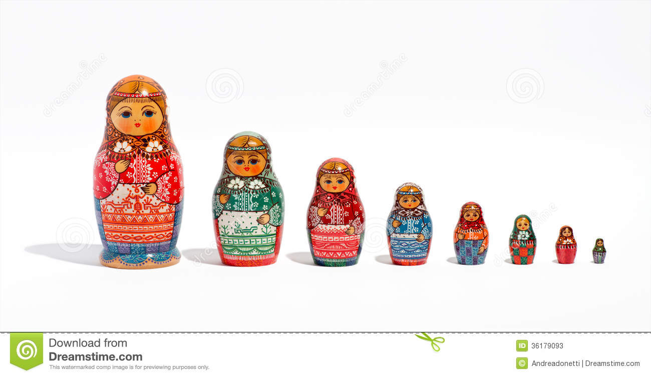 Close up of a set of russian decorative matryoshka dolls in a row in