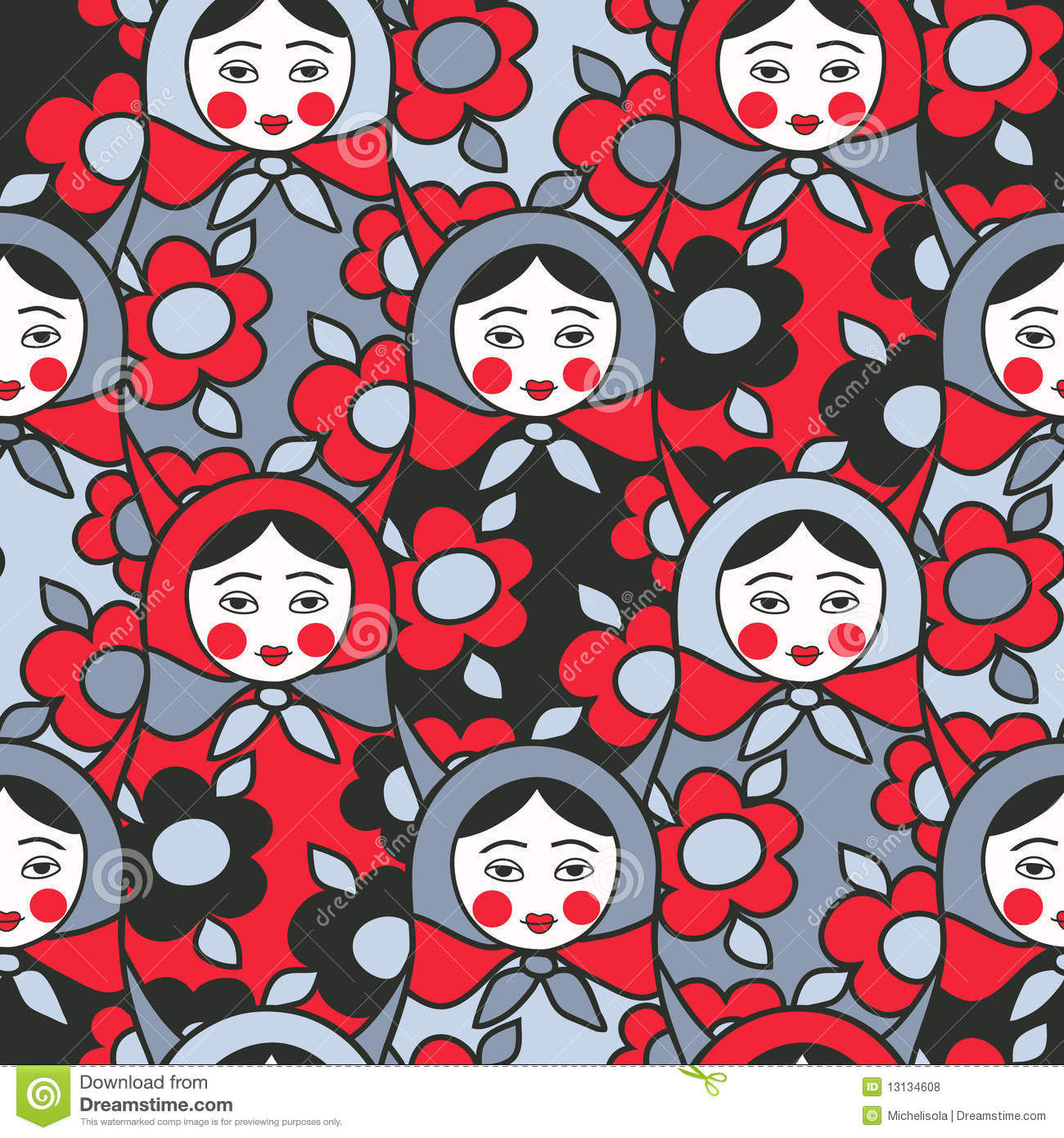 Matryoshka dolls - seamless pattern of Russian ne