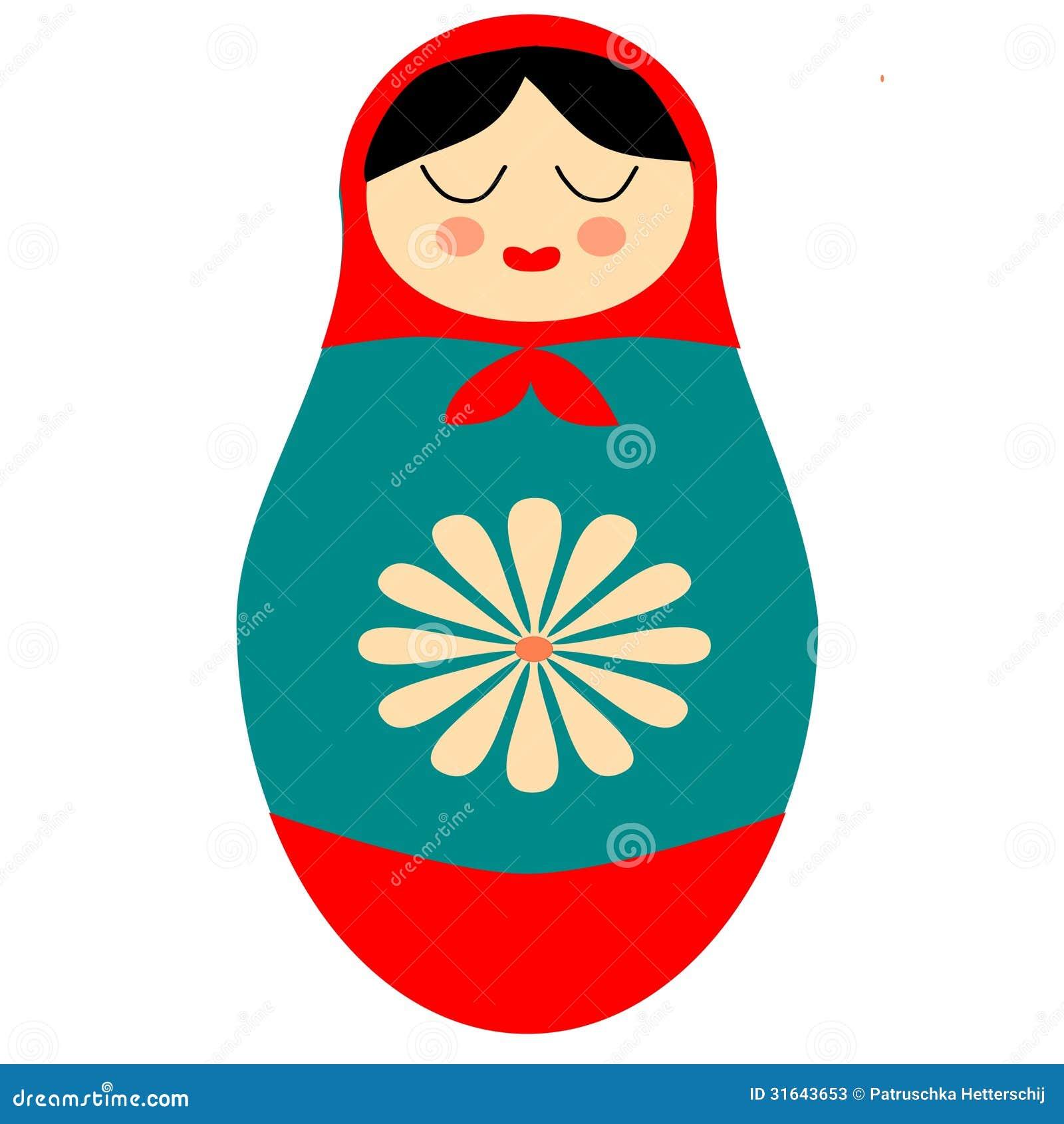 Matryoshka russian doll folk aft retro clip art illustration with ...