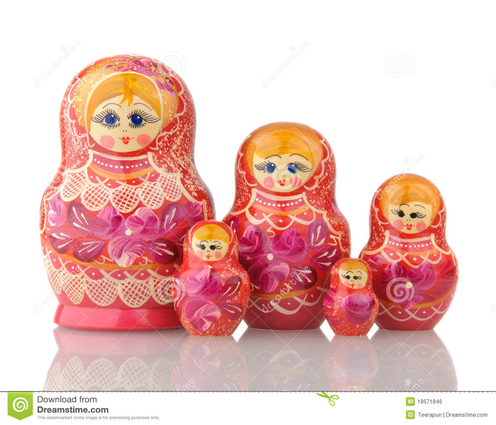 Business Cards Set Matryoshka Russian Nesting Stock Vector