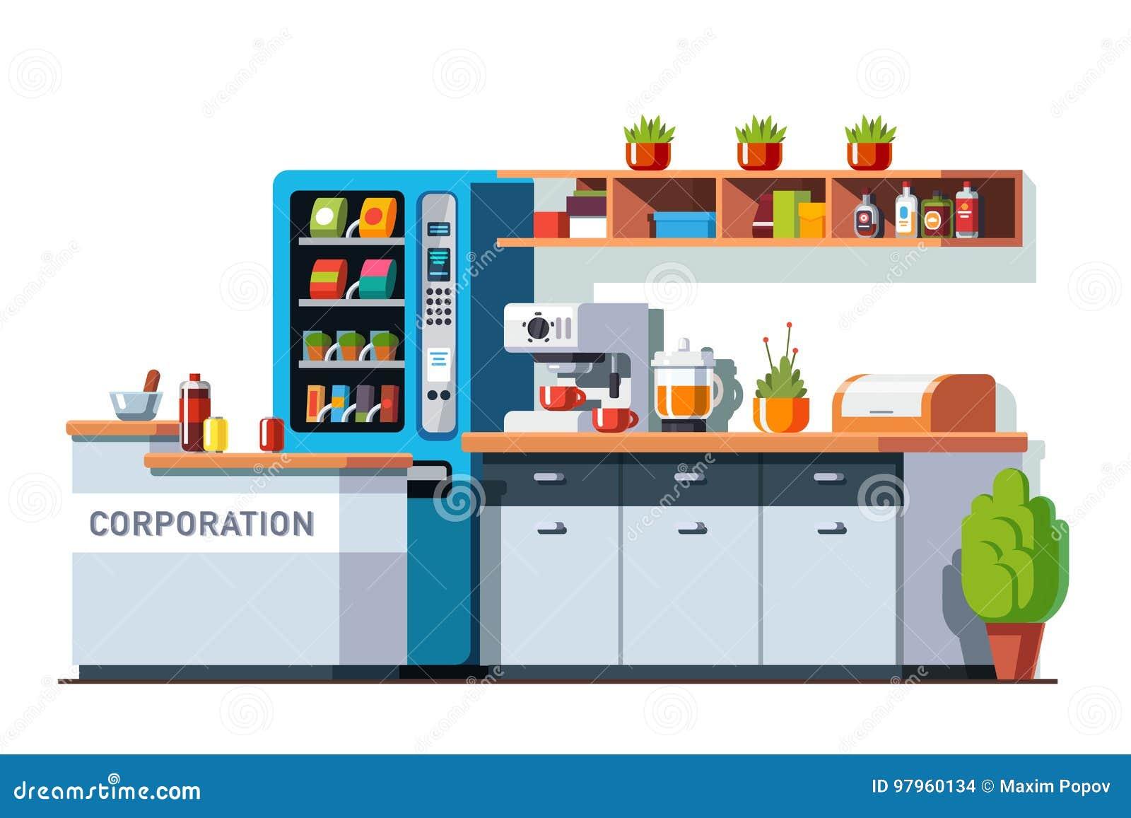 Matsal- och kökinre för företags kontor