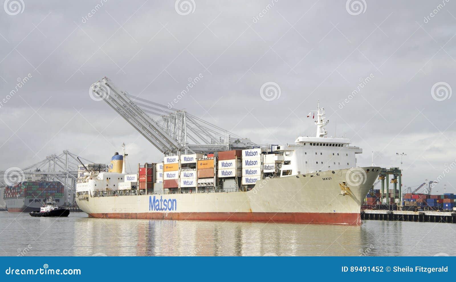 Matson Cargo Ship MAUI Entering The Port Of Oakland