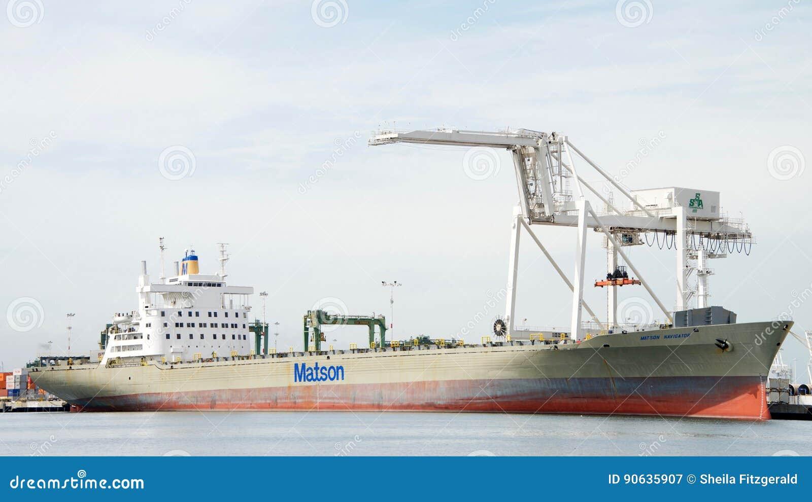 Matson Cargo Ship NAVIGATOR Docked At The Port Of Oakland
