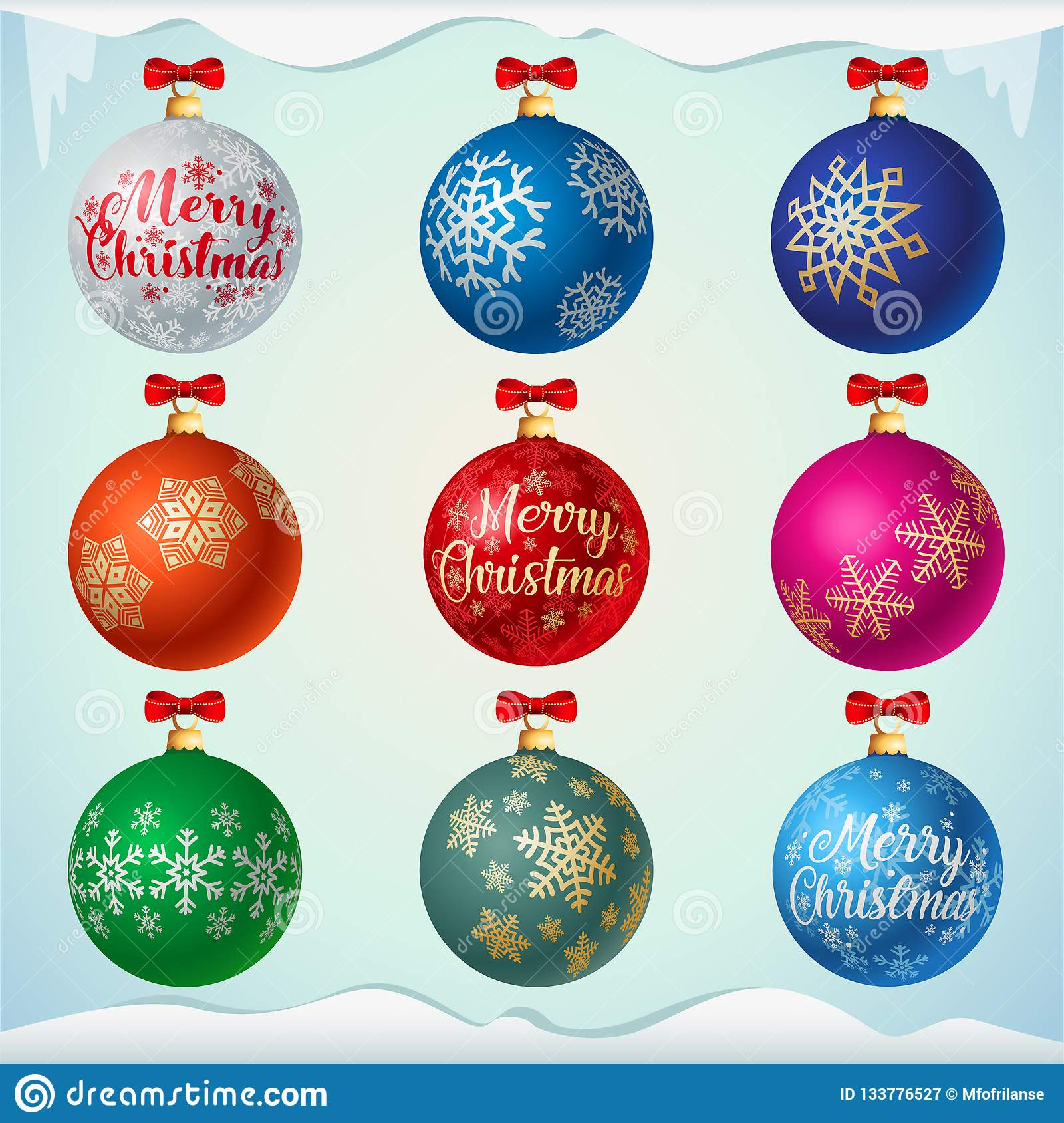 Matt colorful christmas balls with red bows