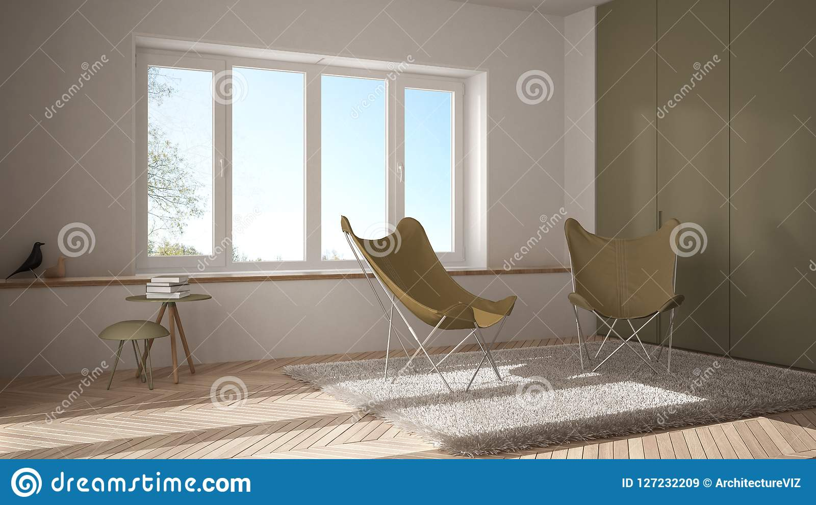 Mattar minsta vardagsrum för vit och för guling med fåtöljen, parkettgolvet och det panorama- fönstret, scandinavian arkitektur,