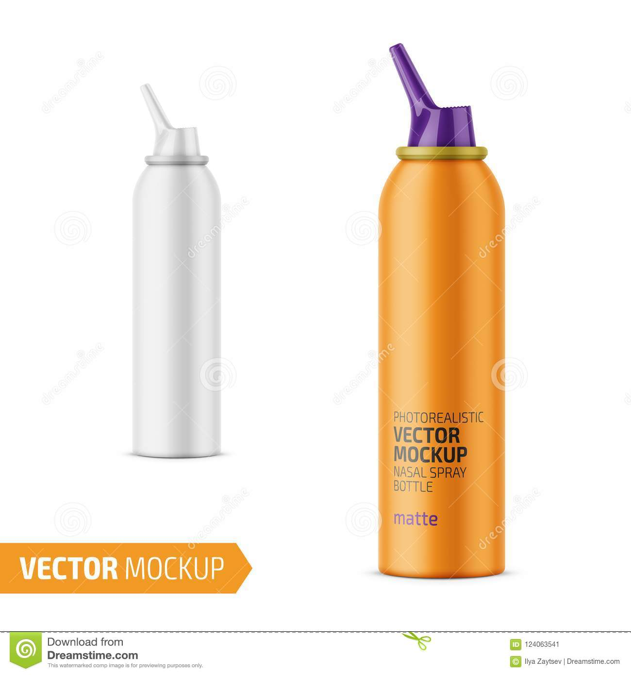 matte aluminum nasal spray bottle with label stock vector
