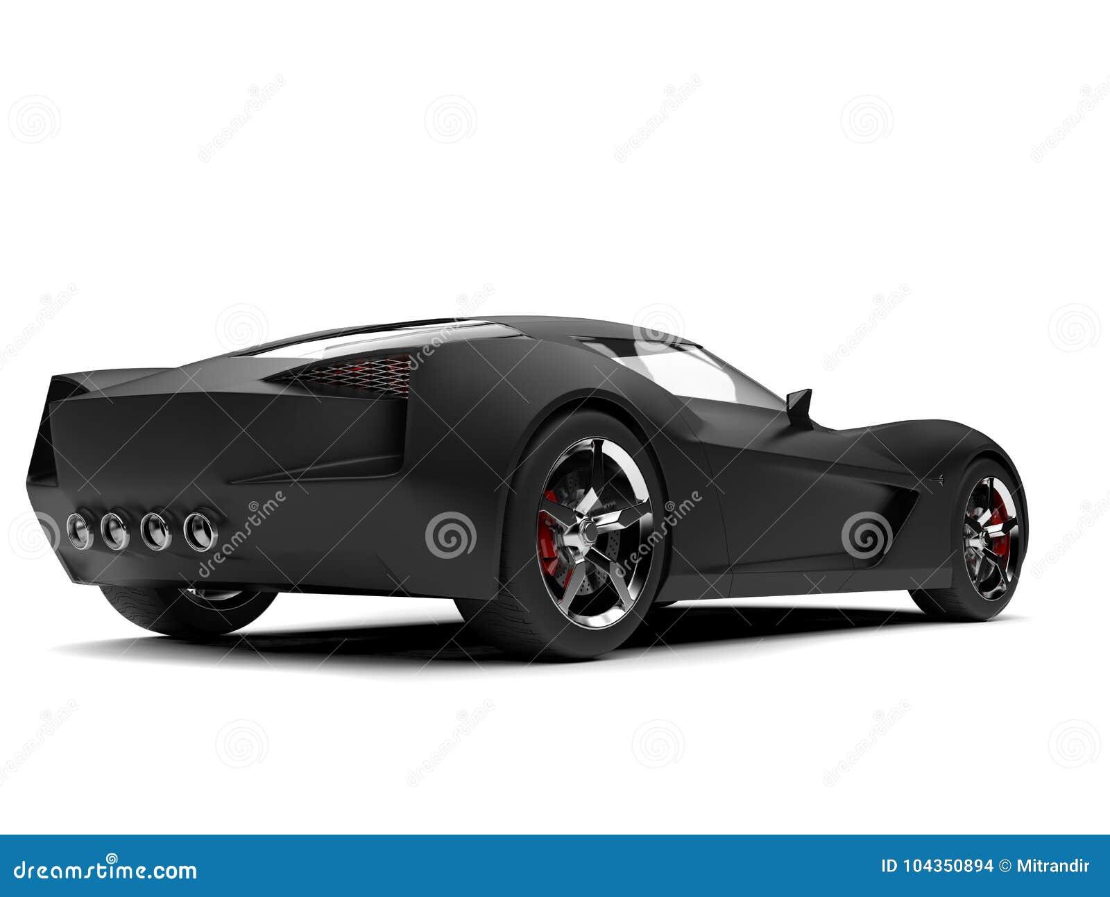 Matte Black Modern Super Sports Concept Car Rear View Stock Illustration Illustration Of Headlight Sport 104350894