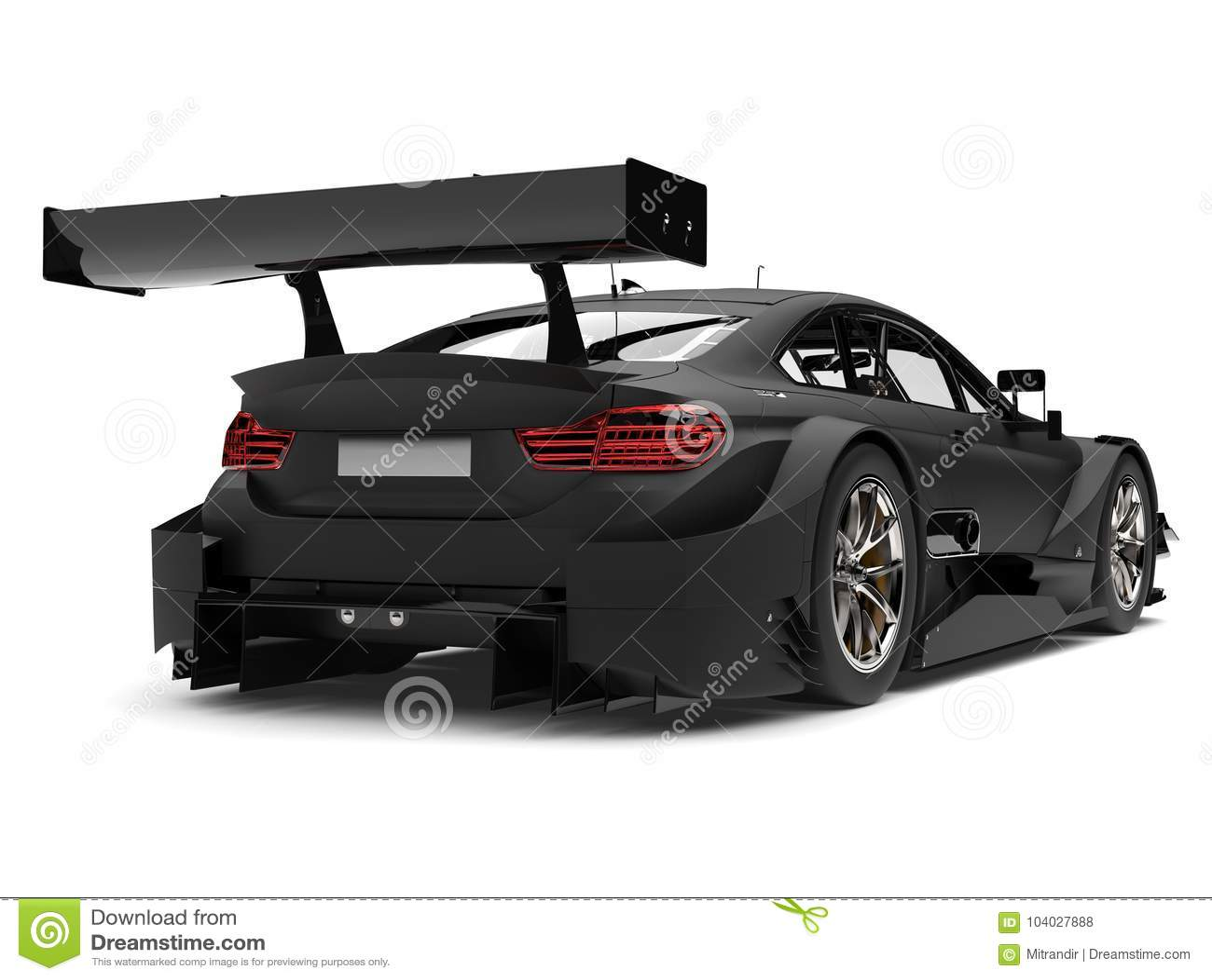 Matte Black Super Race Car Rear Wing View Stock Illustration Illustration Of Expensive Elegant 104027888