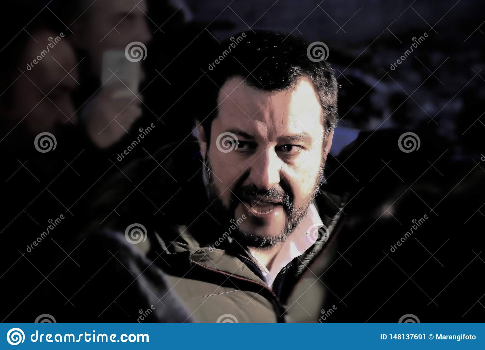 Matteo Salvini leader of italian Lega Party and nowadays Minister of Internal Affairs meet supporters during electoral rally