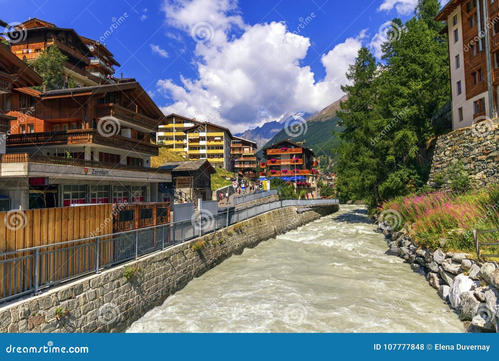Matter Vispa river in Zermatt, Switzerland