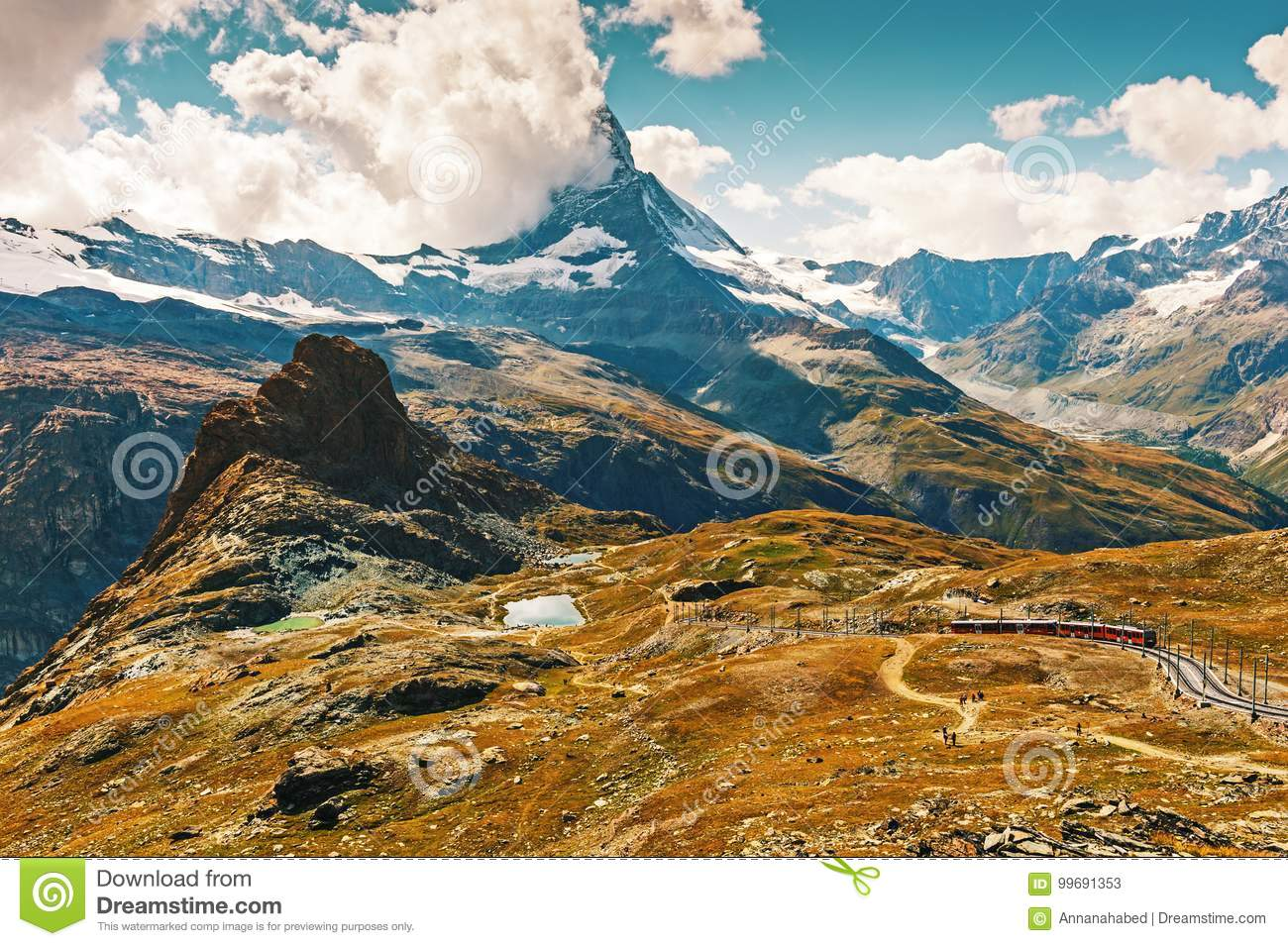 Matterhorn Covered With Clouds Stock Image - Image of alps ...