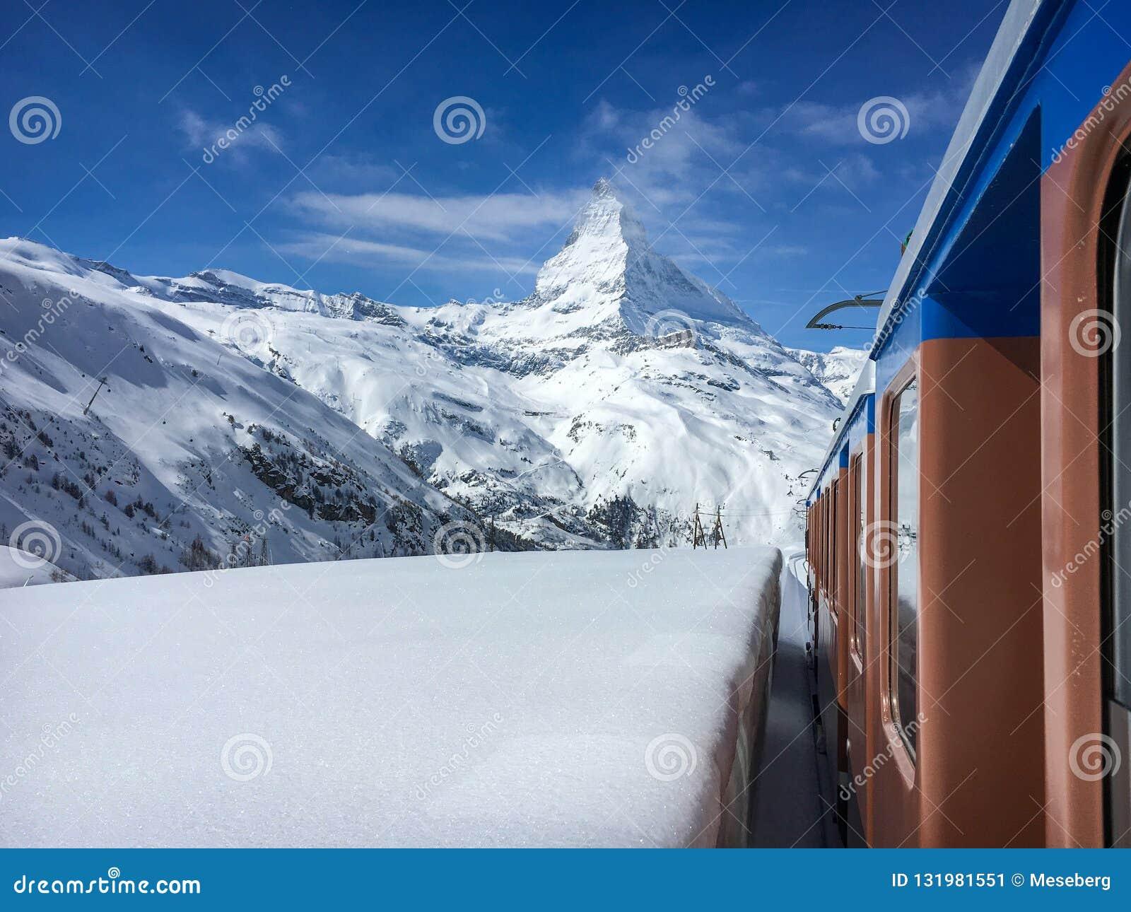 Matterhorn mountain and alpine landscape with Gornergrat railway